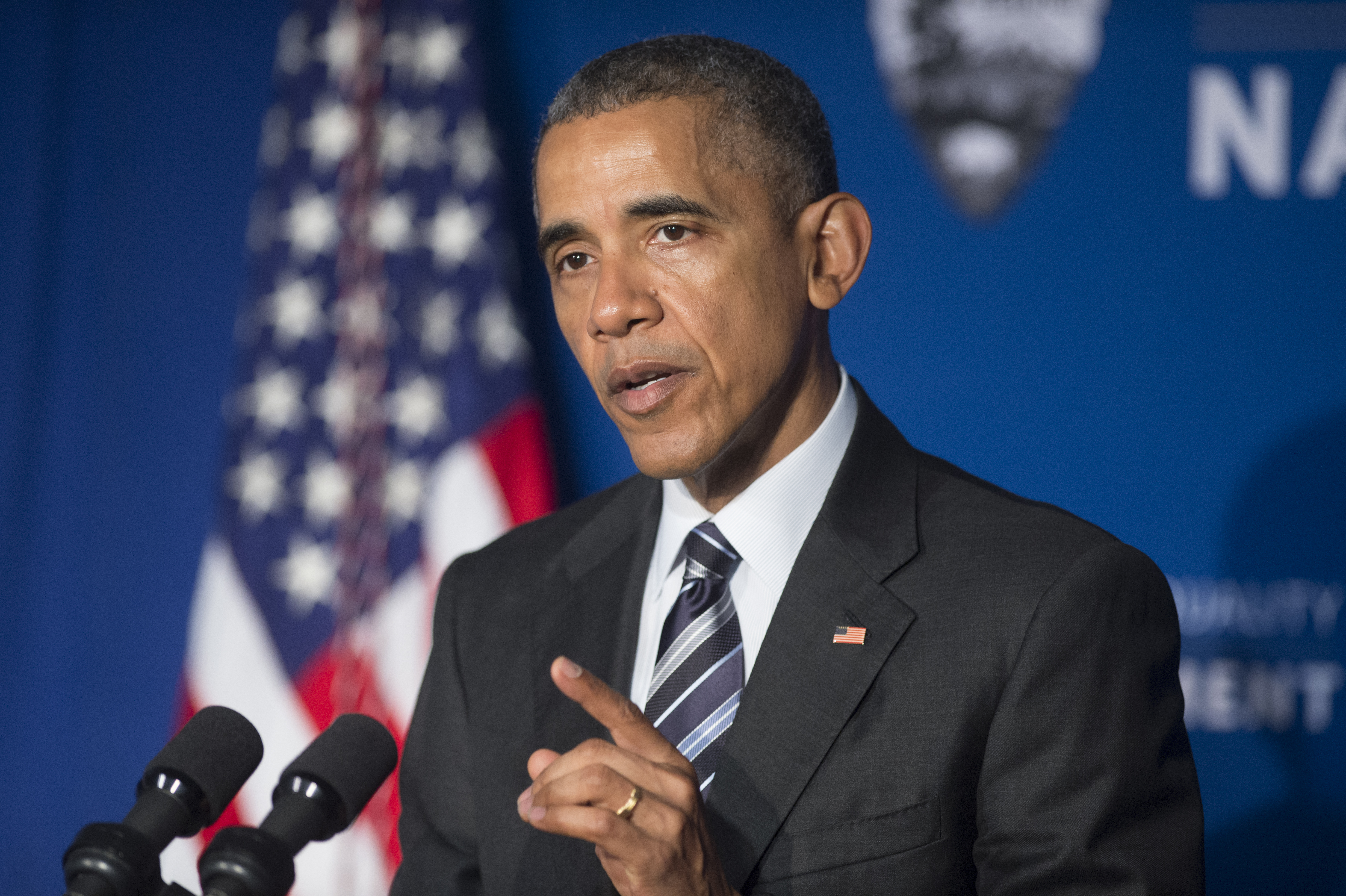 President Barack Obama delivers remarks at the newly-designated Belmont-Paul Women's Equality National Monument on April 12 in Washington, DC.