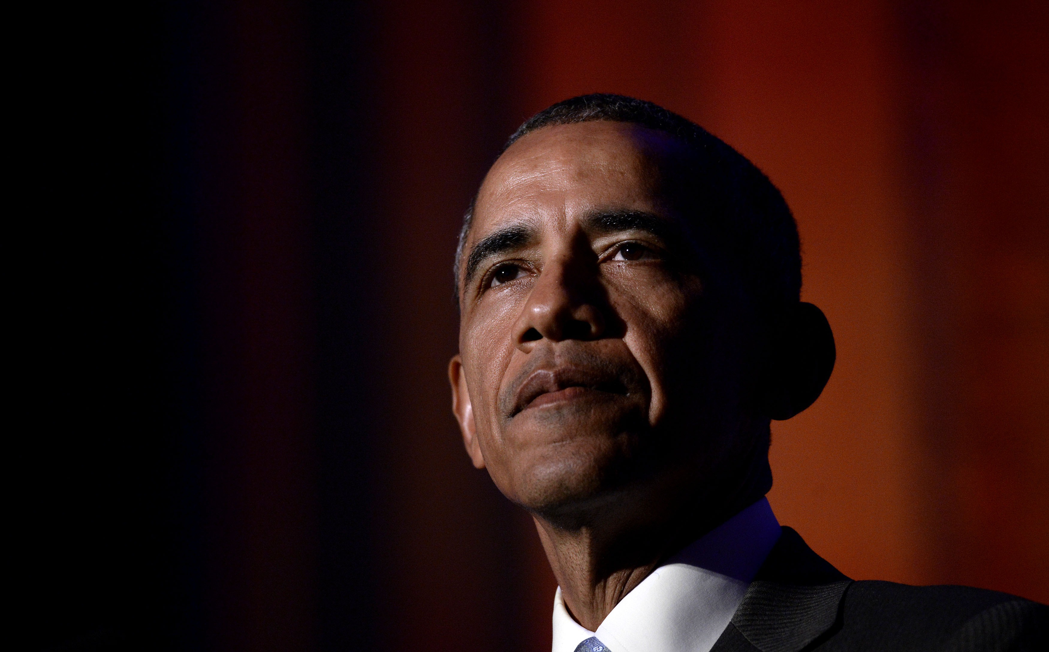 U.S. President Barack Obama delivers the keynote address at the awards dinner for Syracuse University's Toner Prize for Excellence in Political Reporting at the Andrew W. Mellon Auditorium in Washington, D.C., on March 28, 2016.