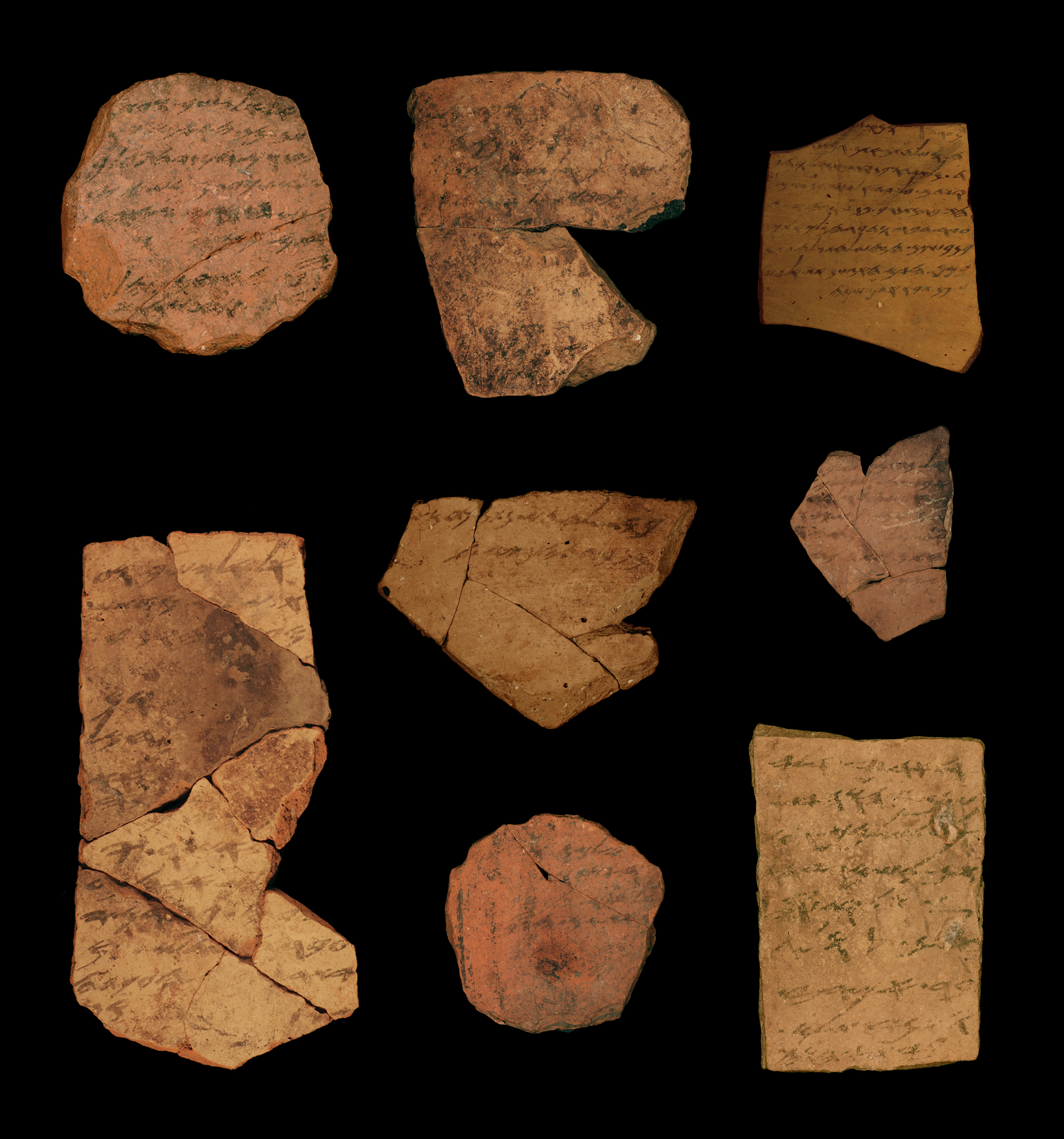 Ostraca (ink inscriptions on clay) from the Iron Age fortress of Arad, southern  Judah. These  documents are dated to the latest phase of the First Temple Period  in  Judah, ca. 600 BCE. This  indicates a high literacy level within the Judahite administration and provides a possible stage-setting for compilation of biblical texts.
