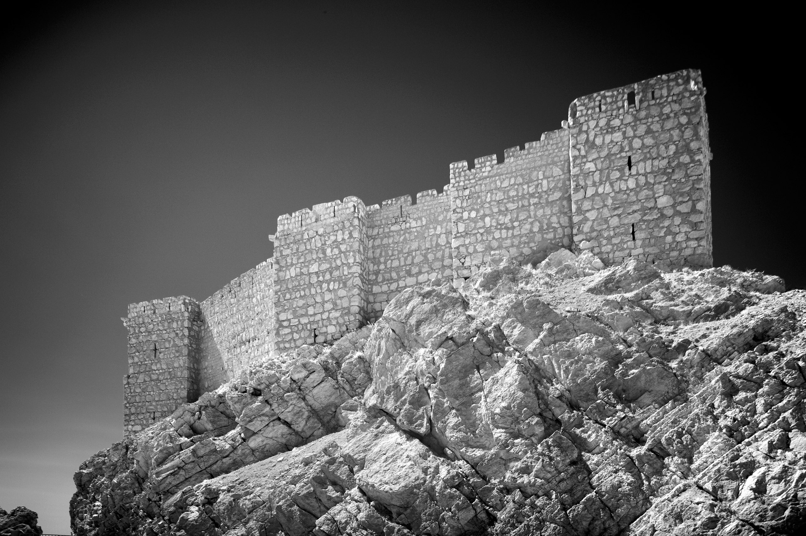 Qalaat Shirkuh, a reconstructed 13th Century castle perched on a hilltop to the west of Palmyra's Roman-era ruins.
