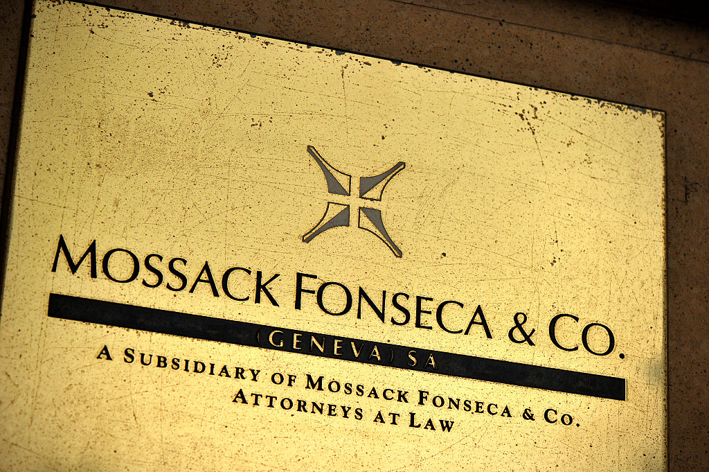 A detail of the Mossack Fonseca Geneva office plate on April 5, 2016 in Geneva, Switzerland.