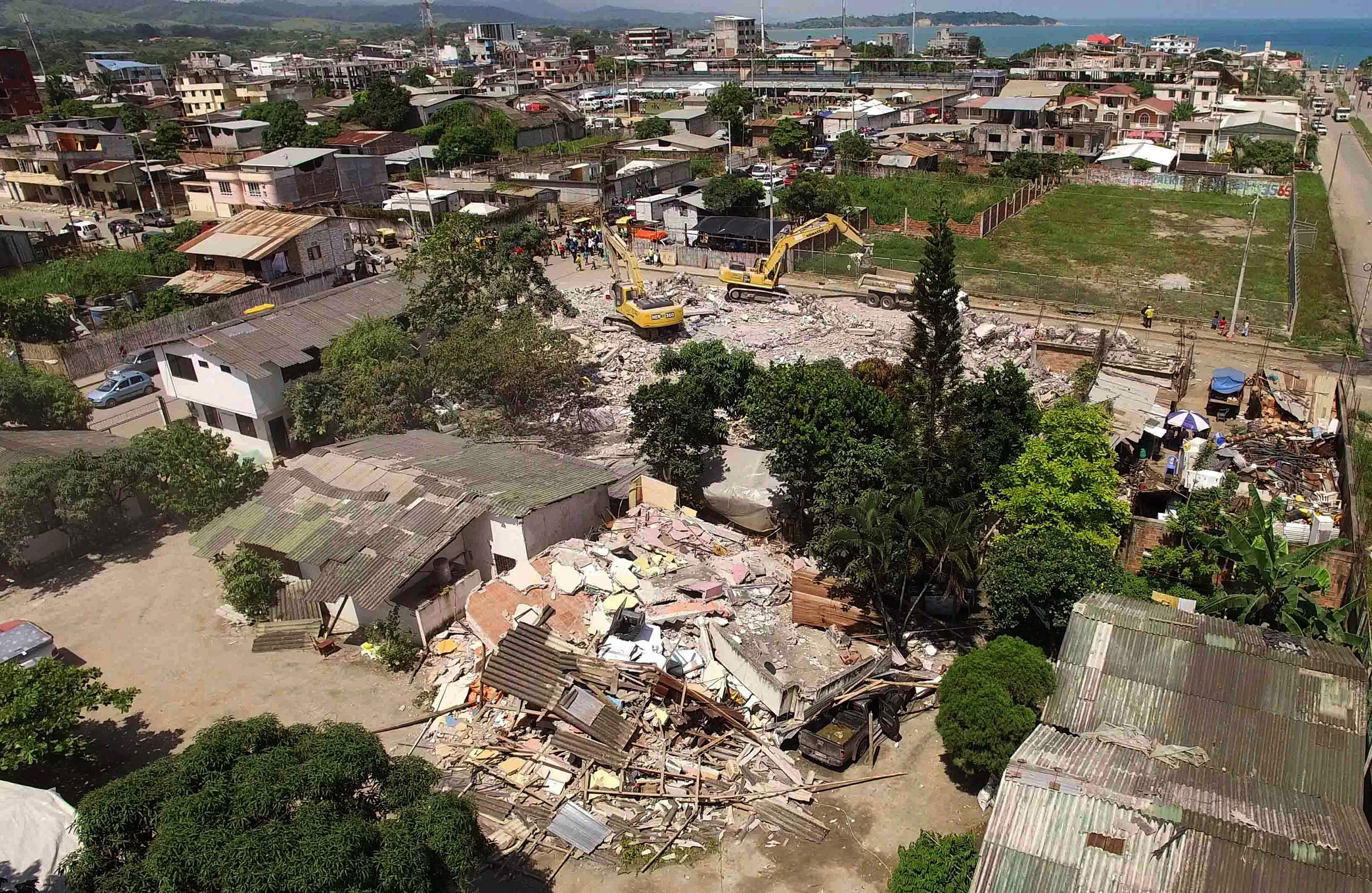 An aerial view of Pedernales, one of Ecuador's worst-hit towns, on April 18, 2016, two days after a 7.8-magnitude earthquake hit the country.