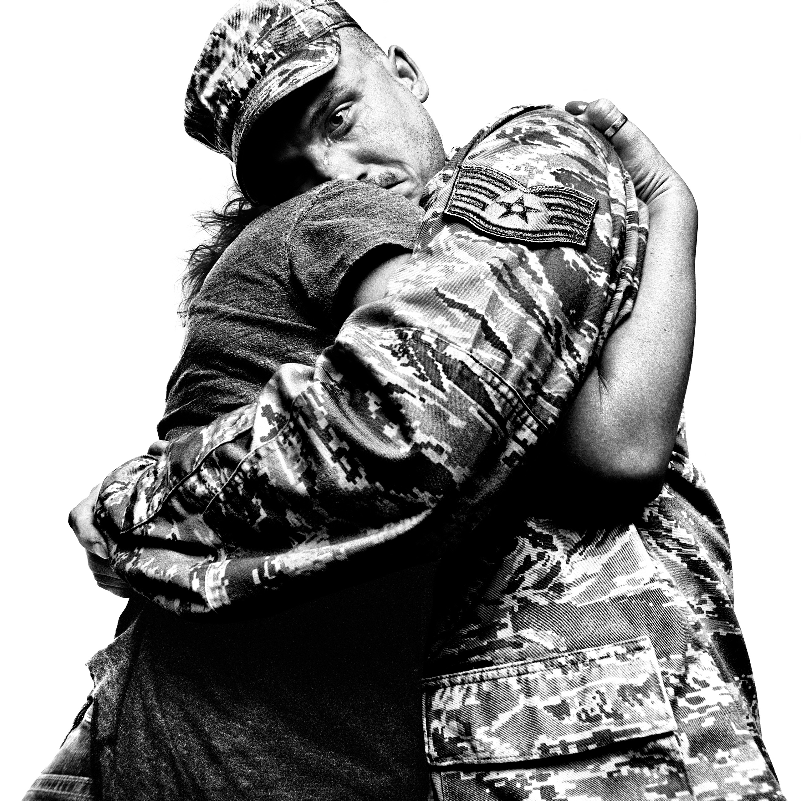 Staff sergeant with loved one. McGuire Air Force Base, 2008.