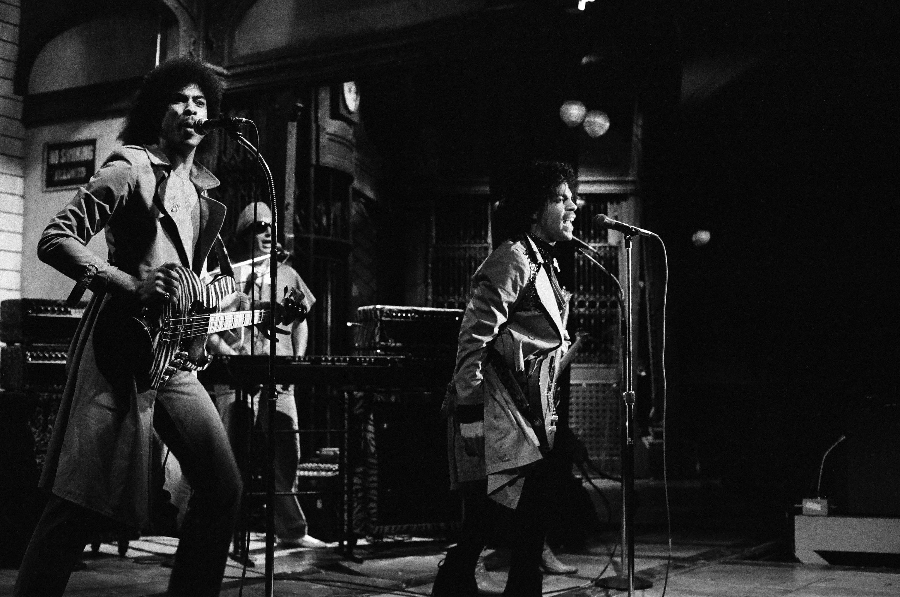 Prince performs on <i>Saturday Night Live</i> on Feb. 21, 1981.