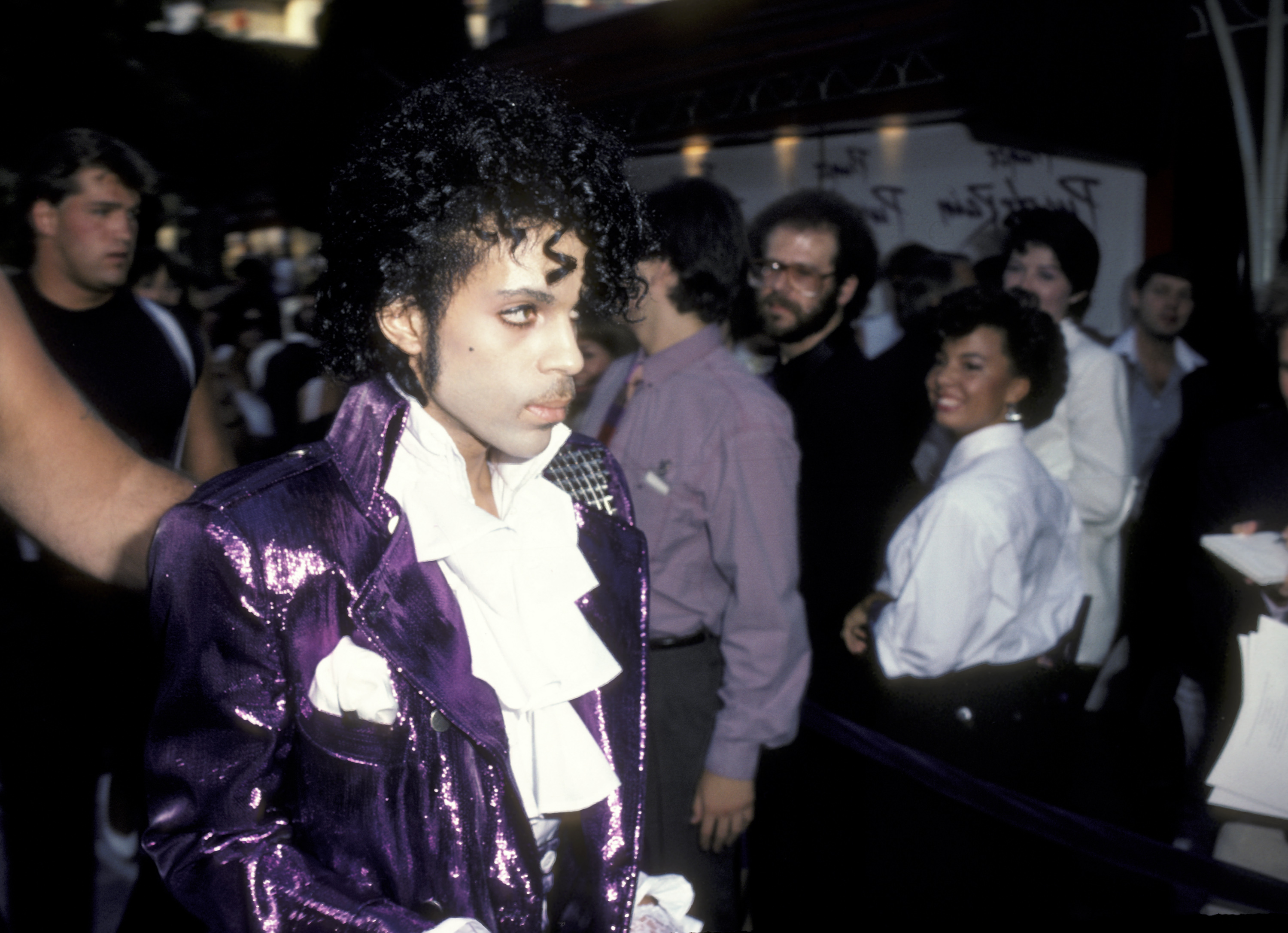 Prince attends the premiere of <i>Purple Rain</i> on July 26, 1984 in Hollywood, Calif.
