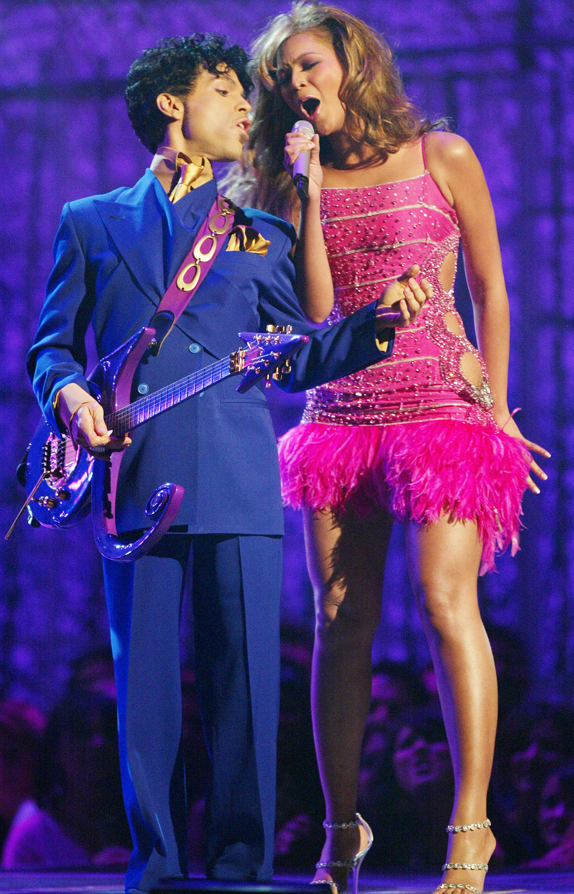 Beyoncé, right, and Prince perform at the 46th Annual Grammy Awards on Feb. 8, 2004 in Los Angeles.