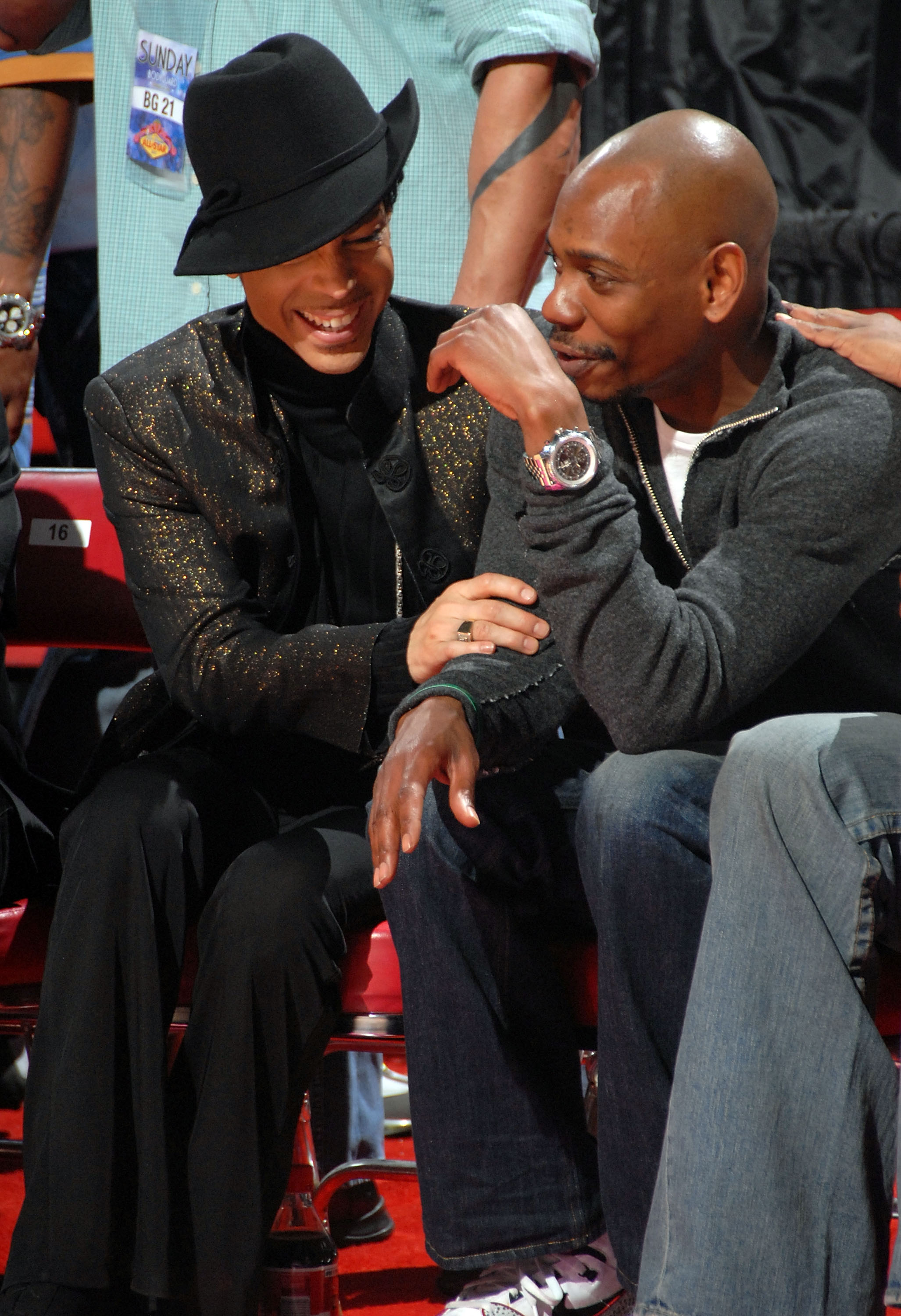 Prince with comedian Dave Chappelle at the 2007 NBA All-Star Game on Feb. 18, 2007  in Las Vegas.