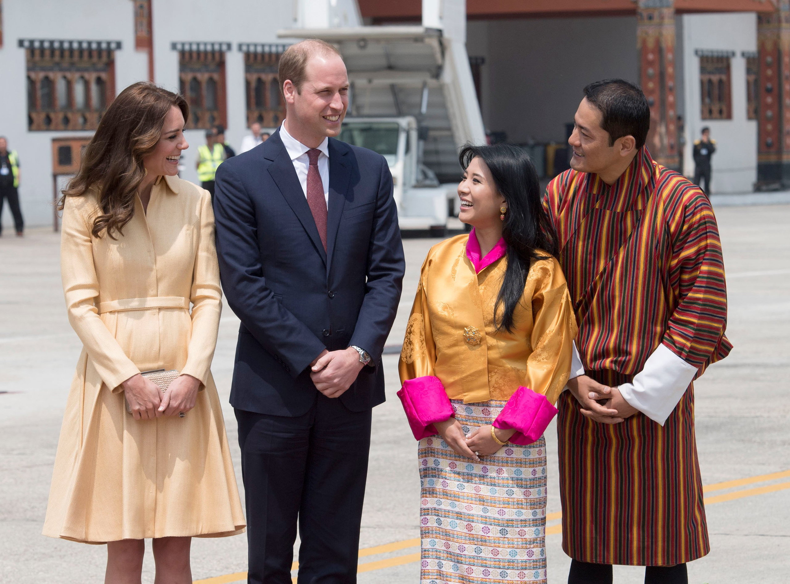 Prince William and Catherine, Duke and Duchess of Cambridge, arrive to meet King Jigme Khesar Namgyel Wangchuck and Queen Jetsun Pema at Paro International Airport in Bhutan, April 14, 2016.