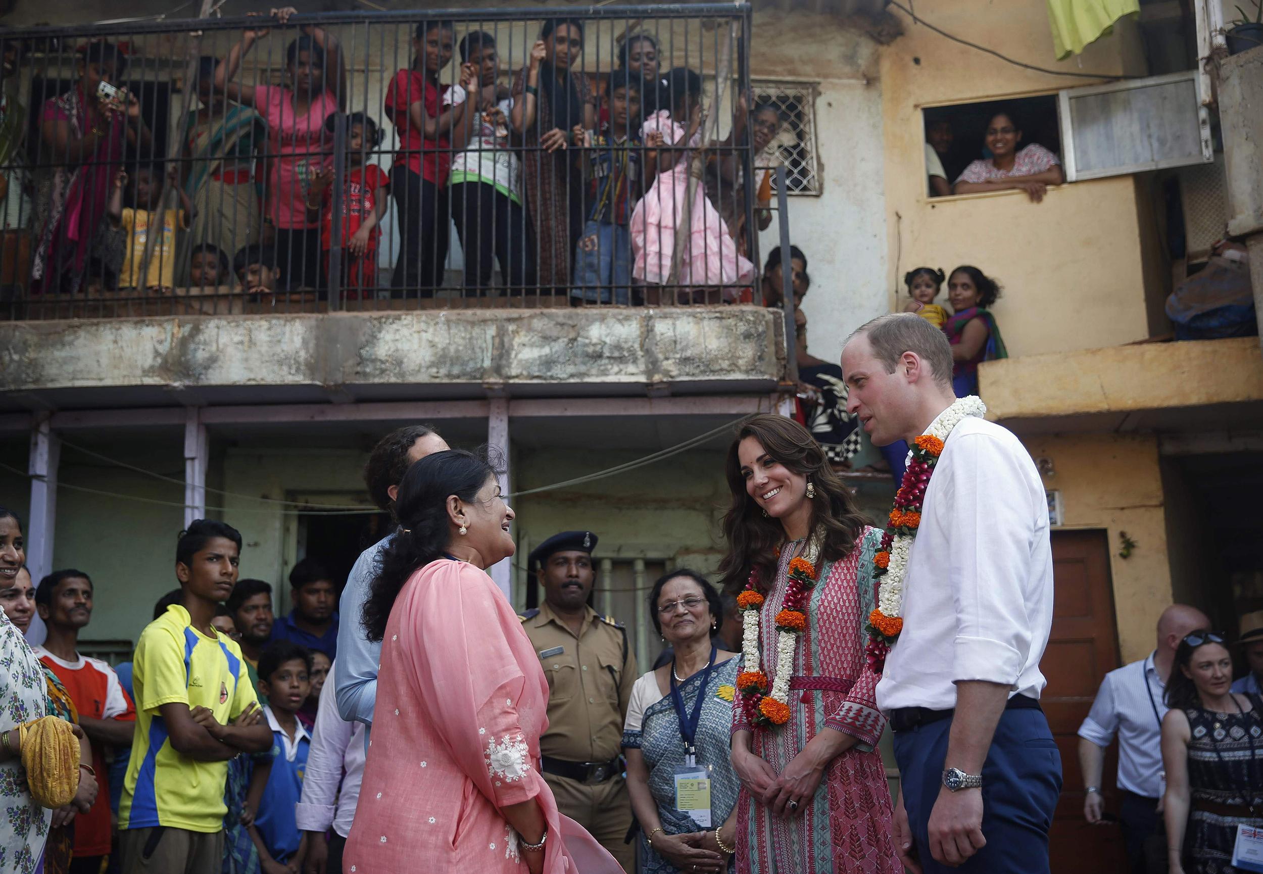 Prince William and Catherine, the Duchess of Cambridge, visit a slum area of Mumbai, India on April 10, 2016.