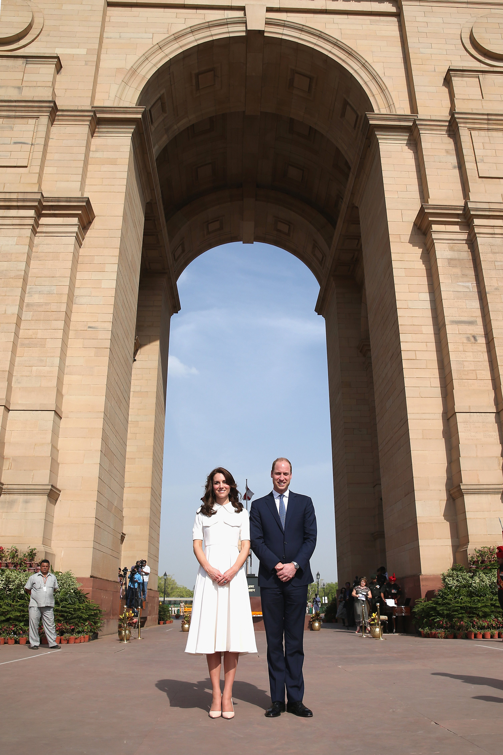 Catherine, Duchess of Cambridge and Prince William, Duke of Cambridge lay a wreath to honor the soldiers from Indian regiments who served in World War I, at India Gate, during the royal visit to India and Bhutan on April 11, 2016.