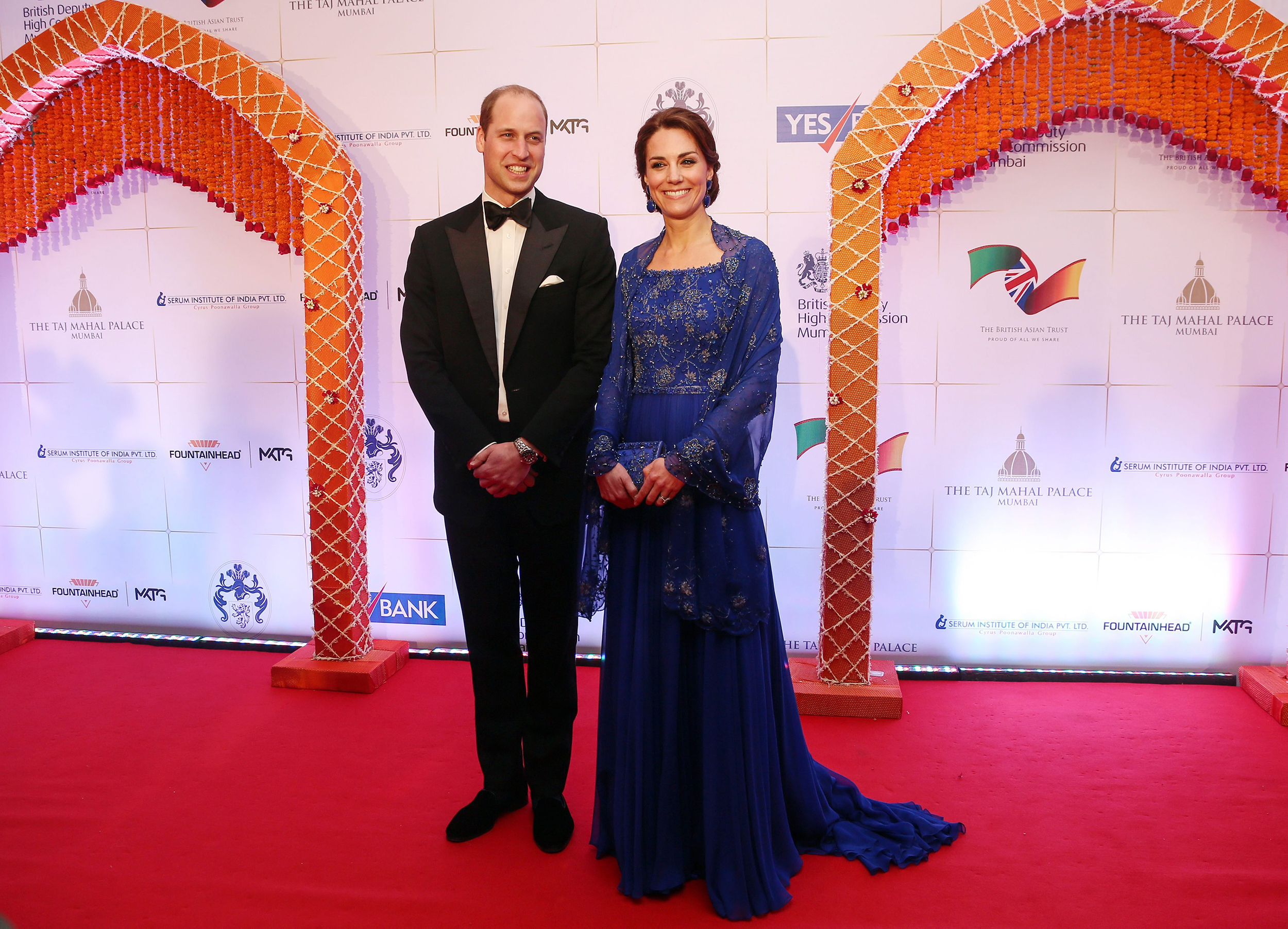Prince William and Catherine, Duchess of Cambridge at the Charity Gala function at the Taj Mahal Palace hotel in Mumbai, India on April 10, 2016.