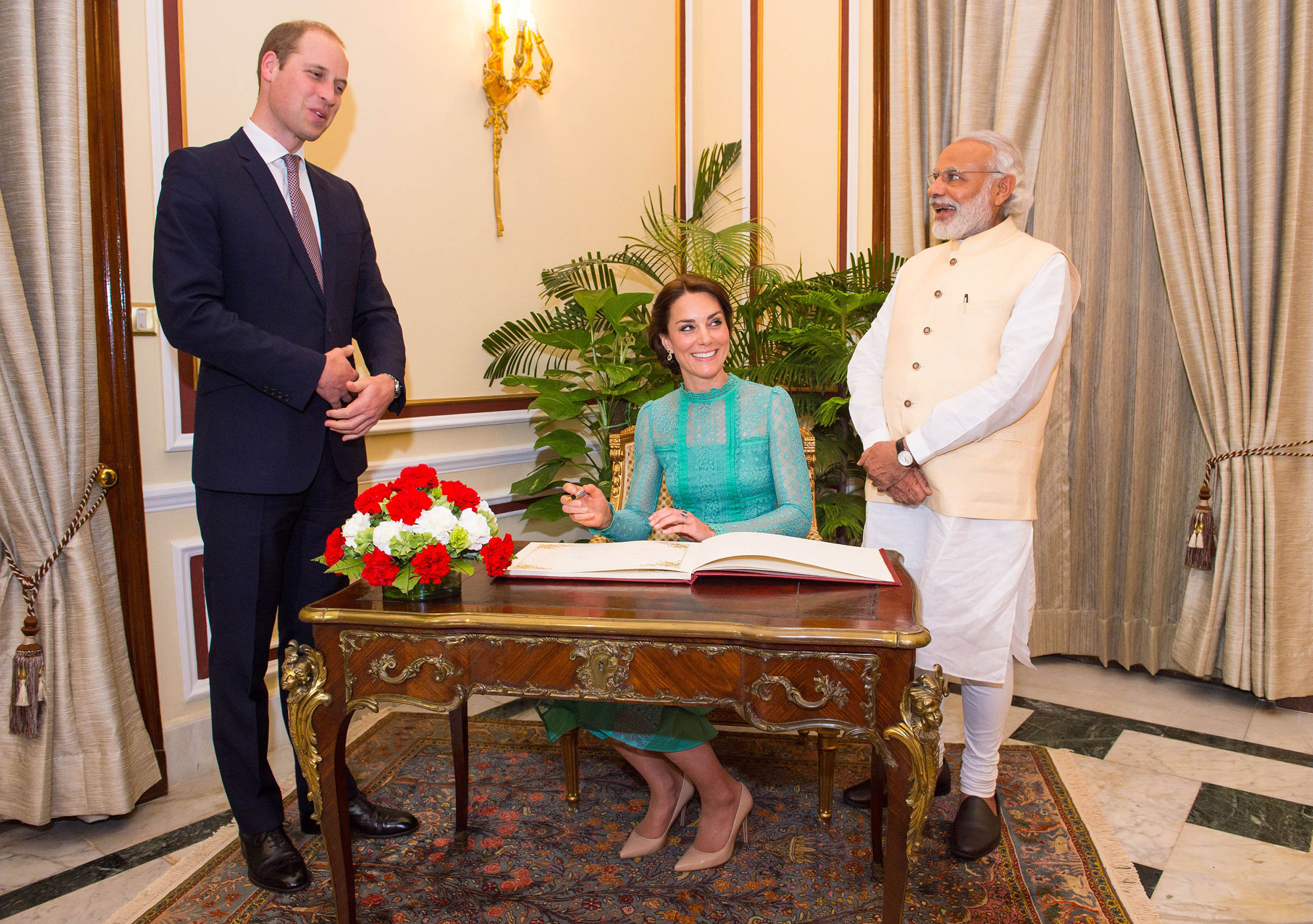 Catherine, Duchess of Cambridge and Prince William, Duke of Cambridge meet Prime Minister of India Narenda Modi in New Delhi's Hyderabad House in New Dehli, India on April 12, 2016.