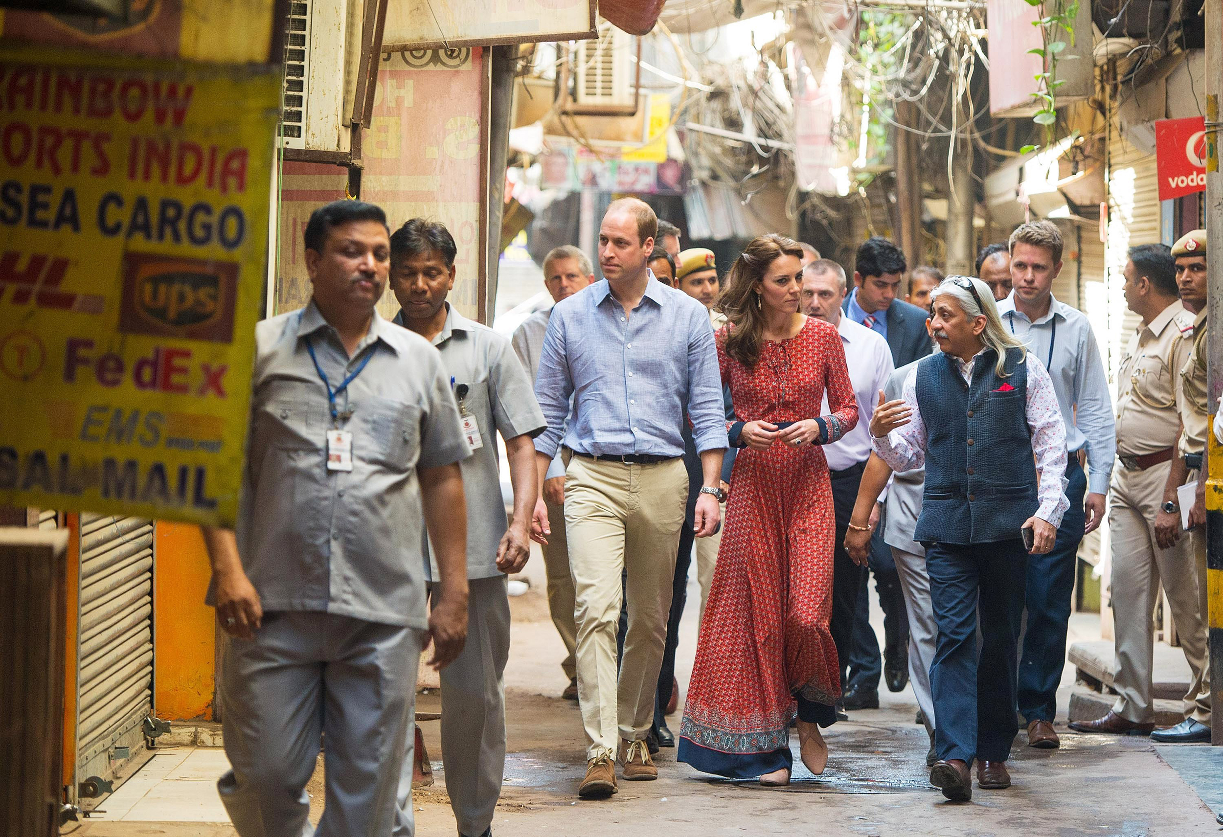 Catherine, Duchess of Cambridge and Prince William, Duke of Cambridge arrive for a visit to a contact centre run by the charity Salaam Baalak, which provides emergency help and long term support to homeless children at New Delhi railway station in New Dehli, India on April 12, 2016.