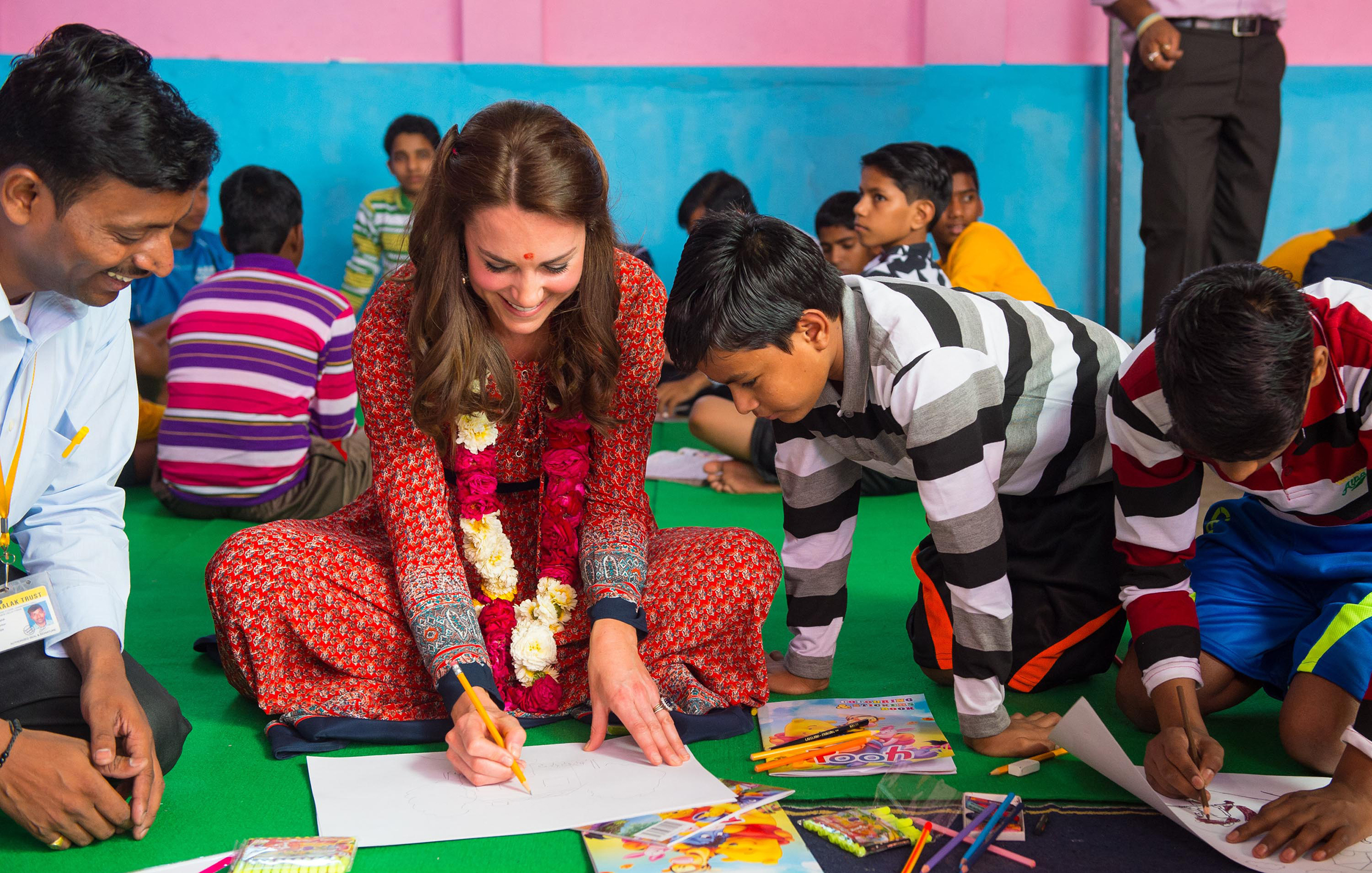Catherine, Duchess of Cambridge participates in an arts class with children at a contact centre run by the charity Salaam Baalak, in New Dehli, India on April 12, 2016.