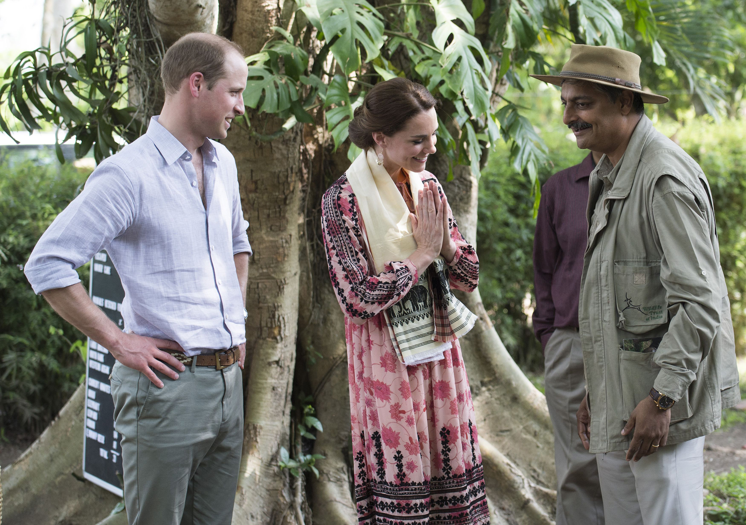 The Duke and Duchess of Cambridge during a visit to the Centre for Wildlife Rehabilitation and Conservation in Kaziranga, India on April 13, 2016.