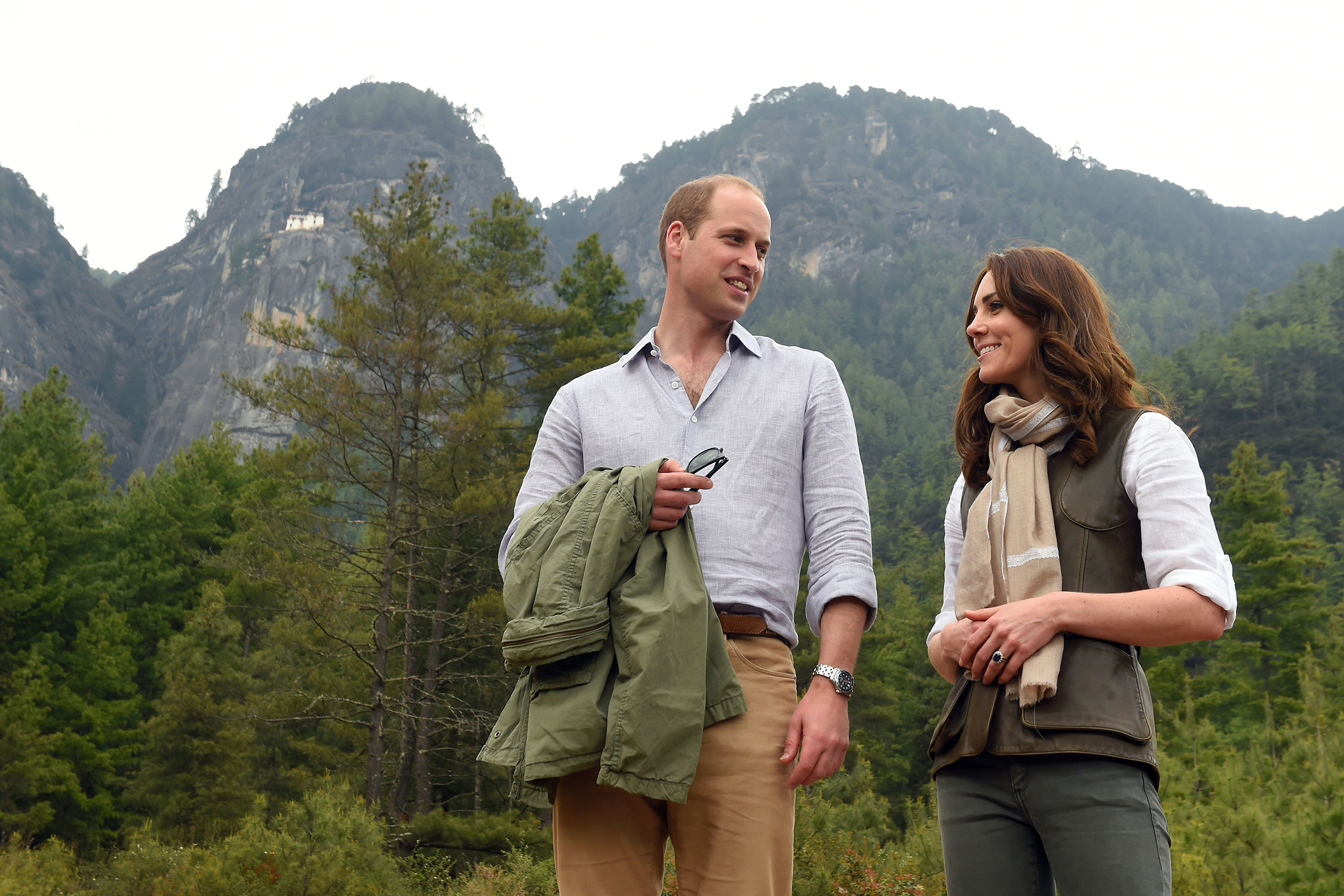 Catherine, Duchess of Cambridge and  Prince William, Duke of Cambridge after their trek to the Tiger's Nest Monastery during a visit to Thimphu, Bhutan on April 15, 2016.