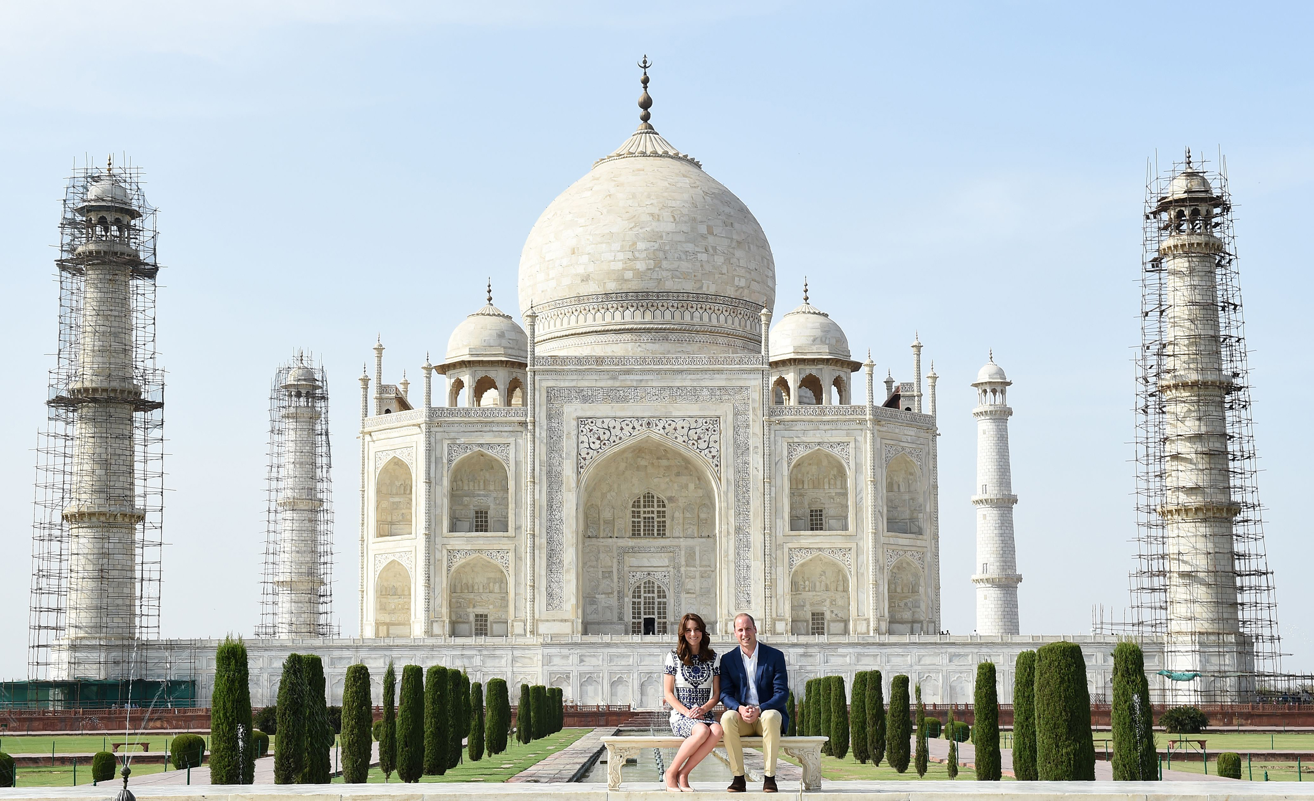 Prince William, Duke of Cambridge, and Catherine, Duchess of Cambridge, pose at The Taj Mahal in Agra, India, April 16, 2016.