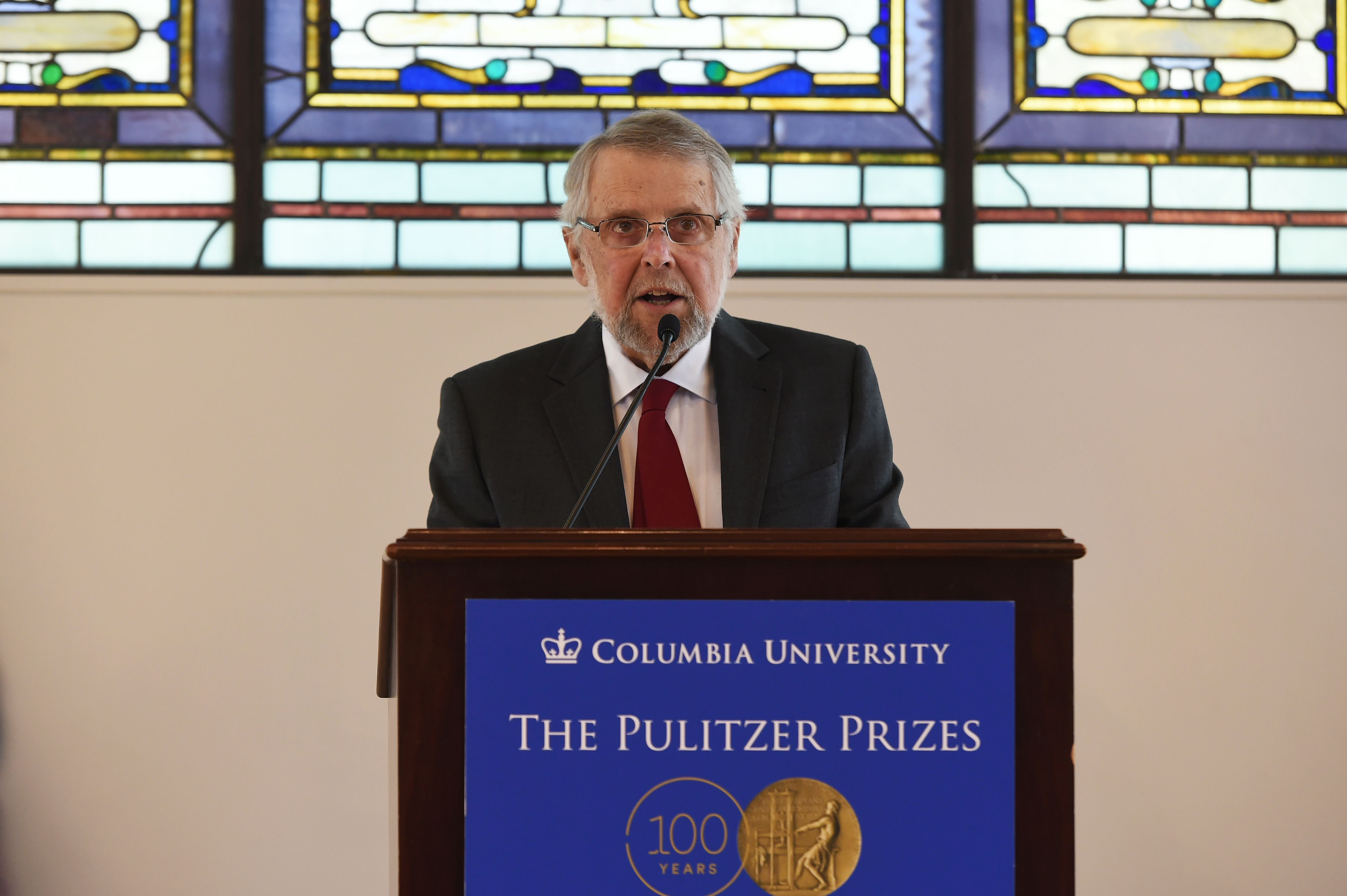 Mike Pride, administrator of The Pulitzer Prizes, announces the 2016 Pulitzer Prize winners at the Columbia University in New York on April 18, 2016.