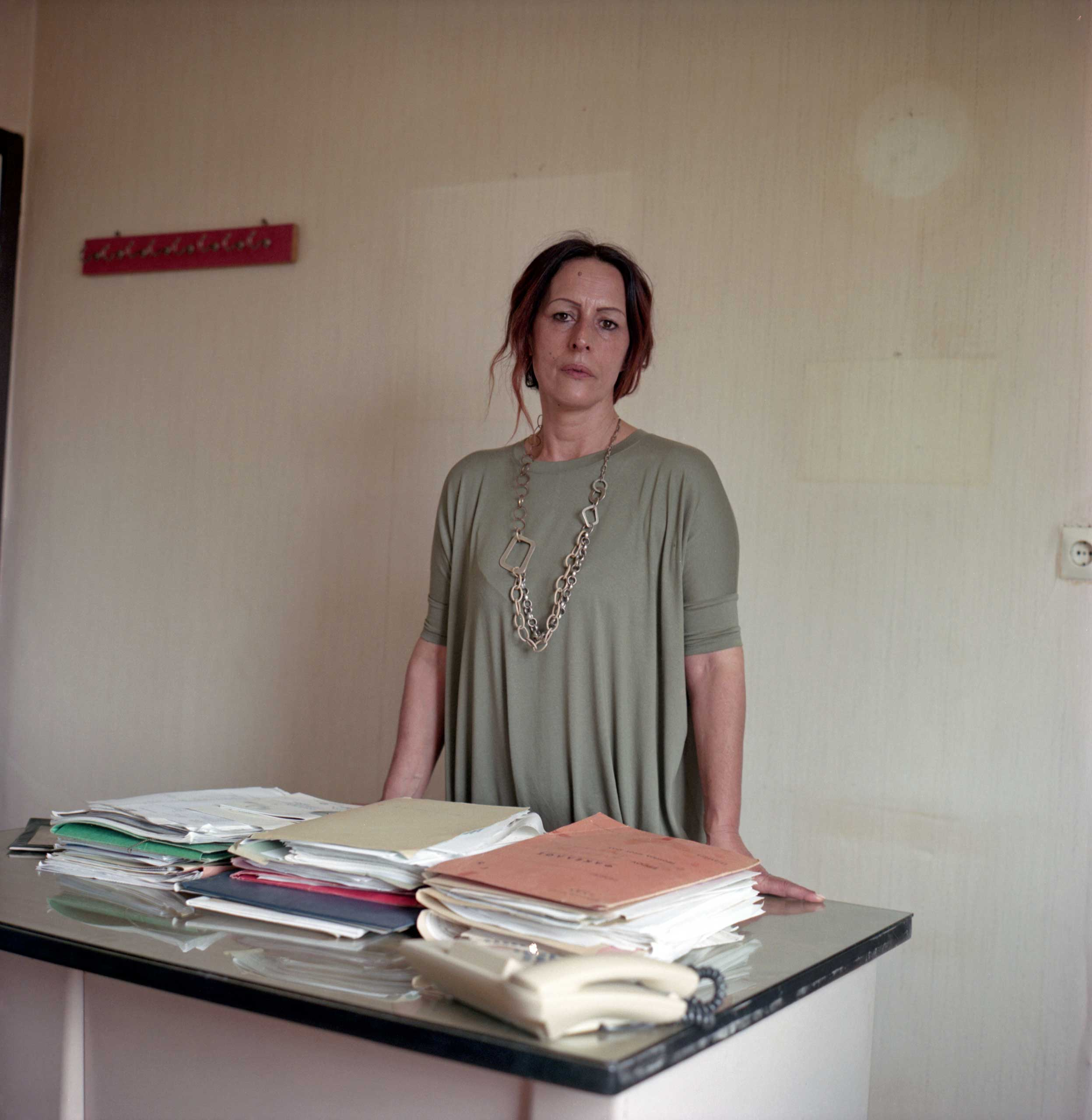 <b>Xauthoula Soupli, mayor of Idomeni</b>                                   Xauthoula Soupli was elected Mayor of Idomeni two years ago. She says she is overwhelmed to see more than 10,000 people in a village with a local population of 140. Her office has recently been broken into, with chairs and papers used to burn for firewood. Idomeni, Greece, April 2016.
