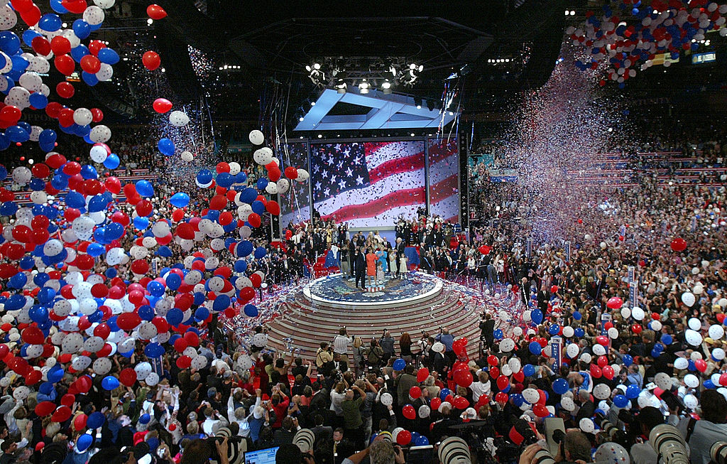 Balloons fall from the ceiling following President George W. Bush's speech accepting his party's nomination on the final night of the Republican National Convention at Madison Square Garden in New York City, Sept. 2, 2004.