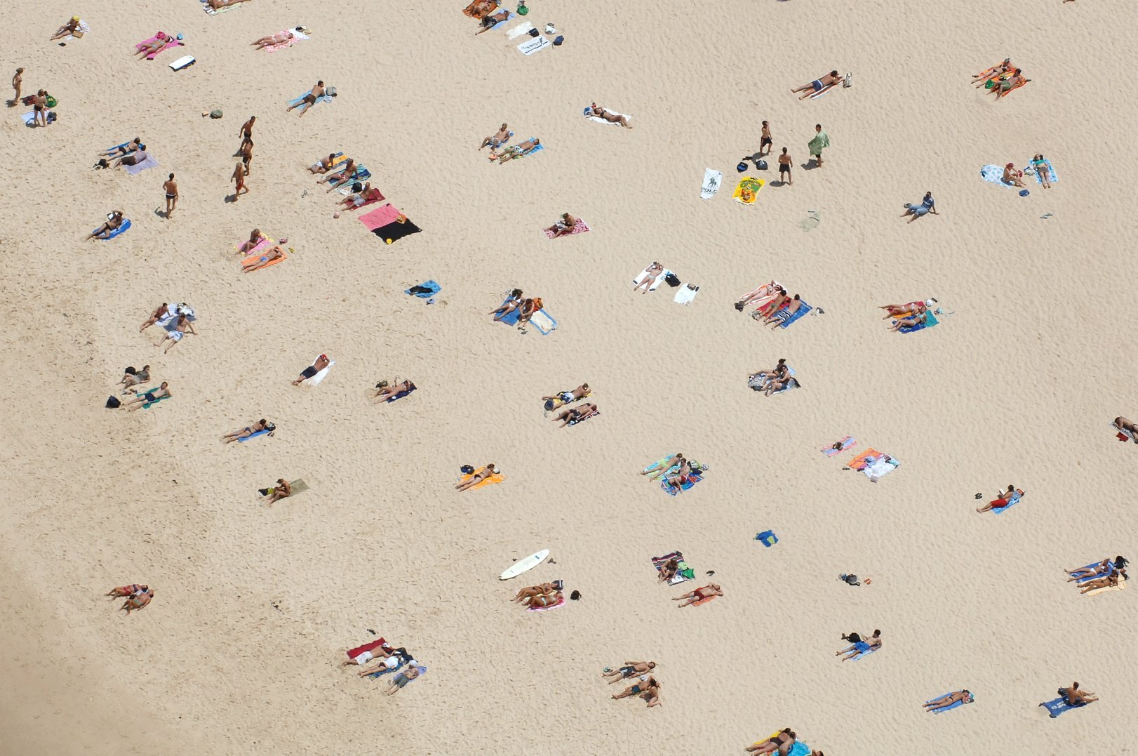 An aerial looking over people relaxing on Bondi Beach, Australia, Dec. 17, 2005.