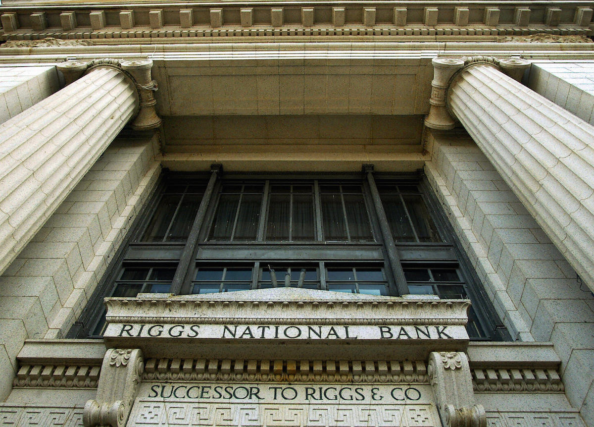 This 20 April, 2004, file photo shows a branch of the Riggs National Bank on Pennsylania Avenue in Washington, DC.