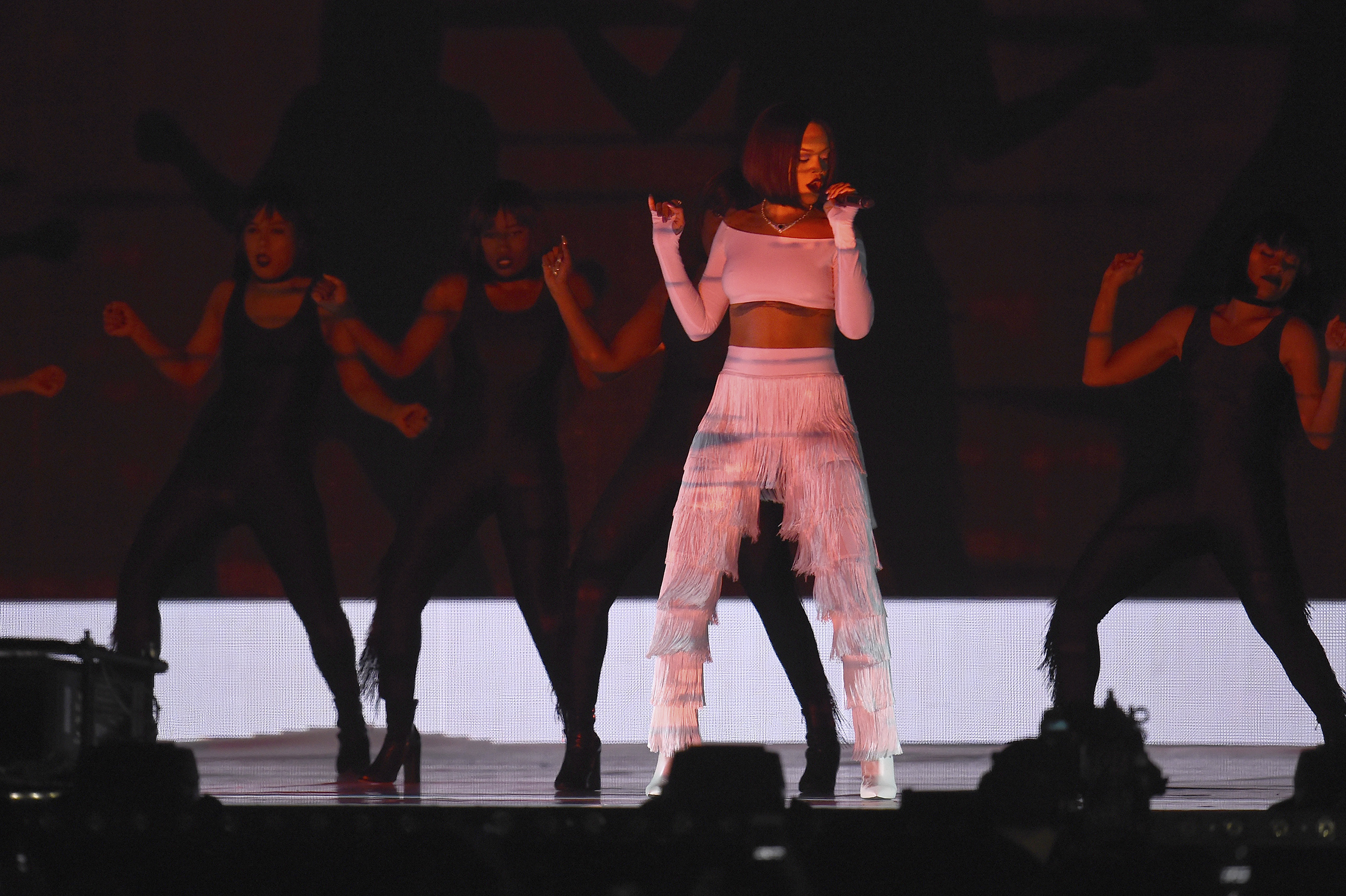 Rihanna performs onstage at the BRIT Awards at The O2 Arena in London, Feb. 24, 2016.