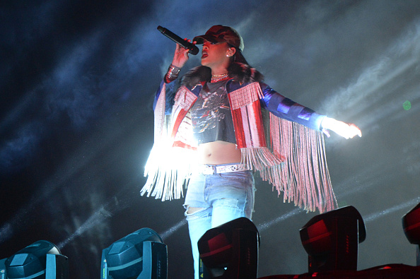 Guest singer Rihanna performs onstage with Calvin Harris during day 3 of the 2016 Coachella Valley Music And Arts Festival Weekend 1 at the Empire Polo Club on April 17, 2016 in Indio, California.