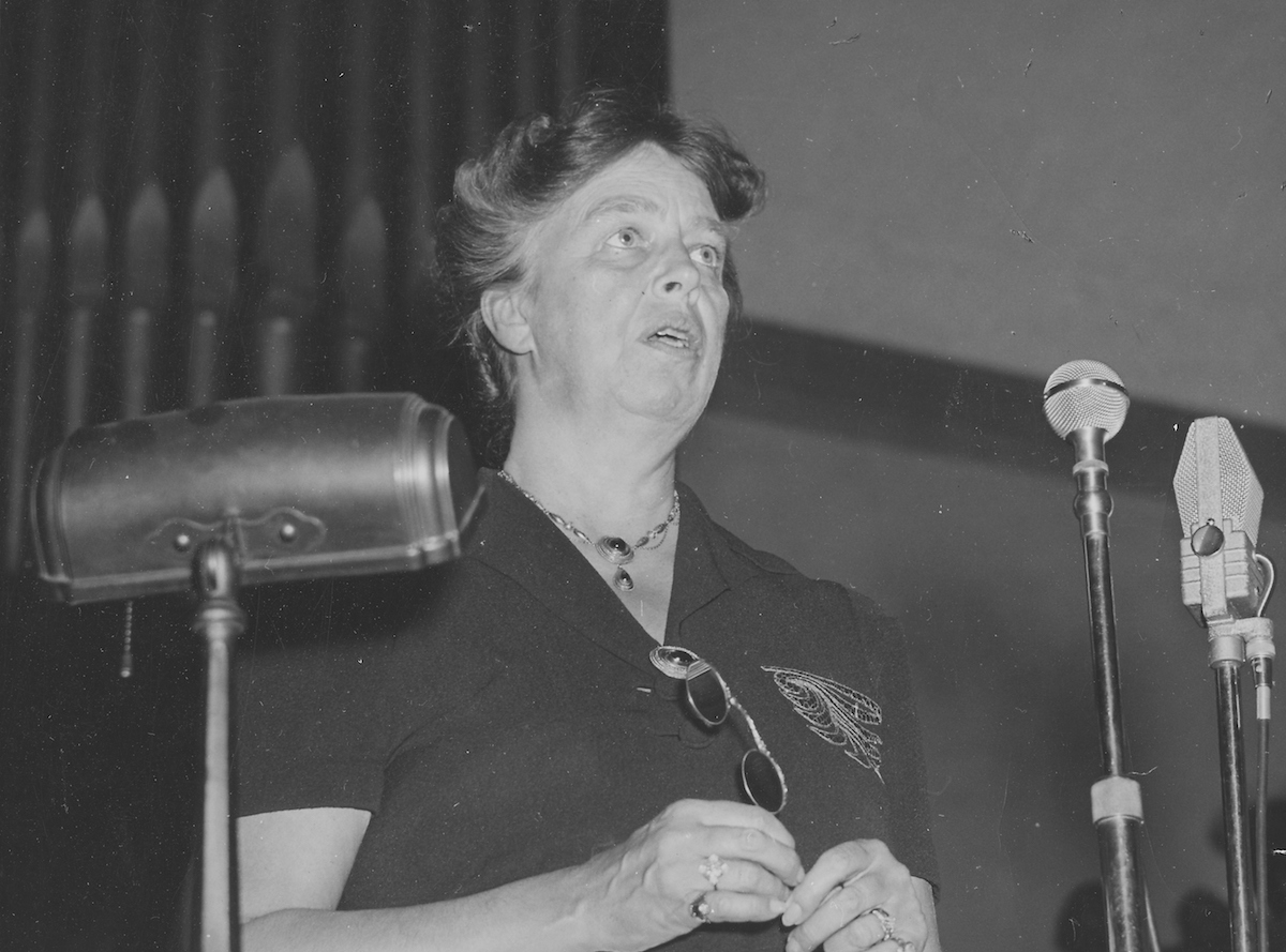 Eleanor Roosevelt delivering a speech, 1945.