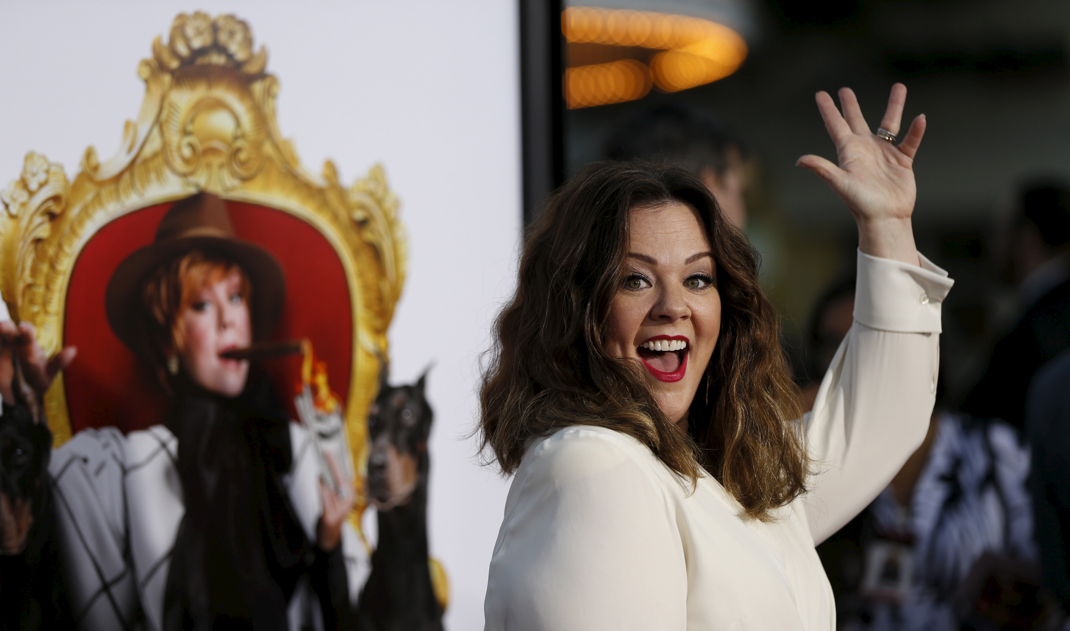 Cast member Melissa McCarthy waves at the premiere of  The Boss  in Los Angeles, California March 28, 2016.