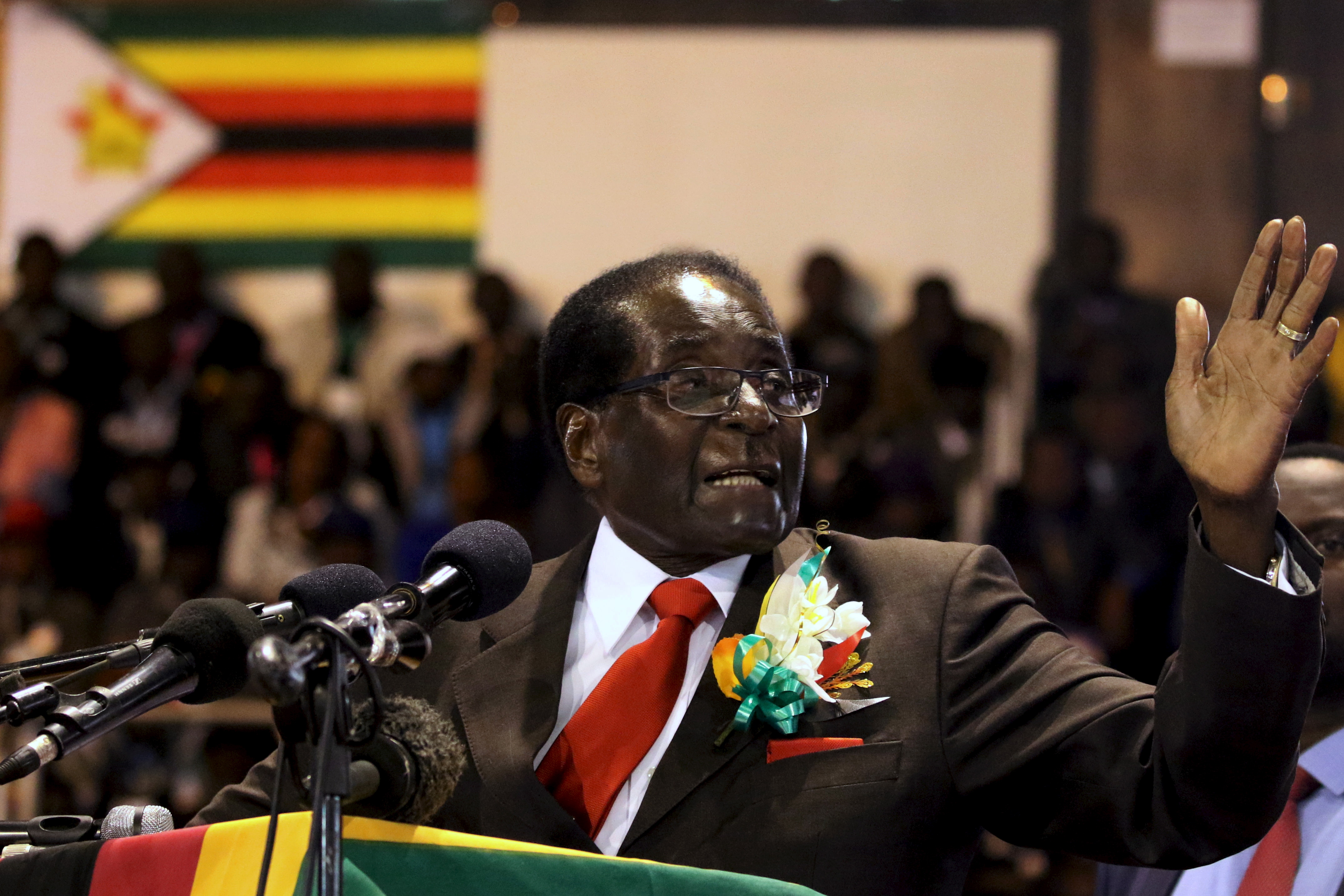 Zimbabwe's President Robert Mugabe gestures while addressing a meeting of veterans of the country's independence war in the capital Harare on April 7, 2016