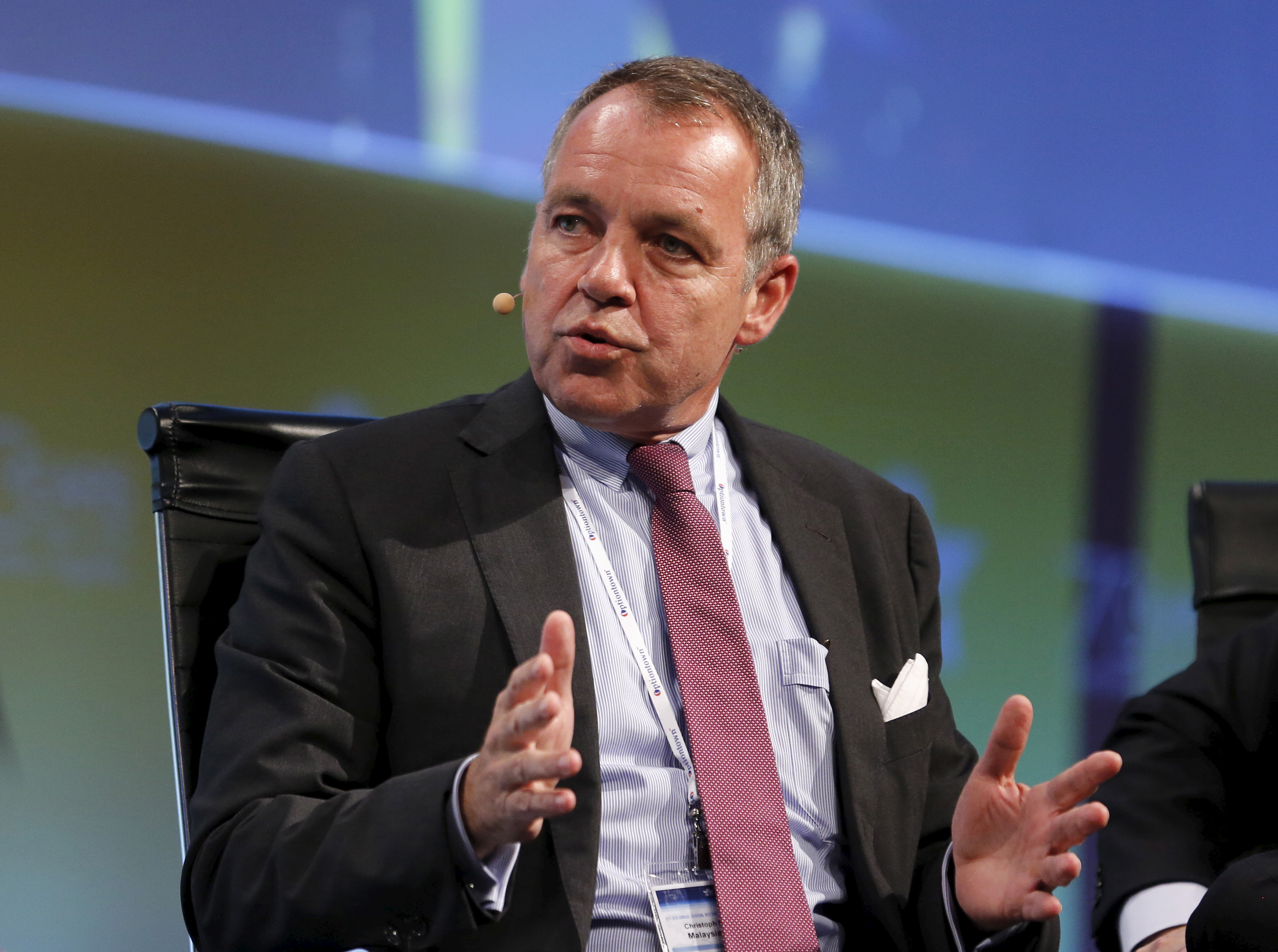 Christoph Mueller, CEO of Malaysia Airlines, speaks during a panel discussion at the 2015  International Air Transport Association (IATA) Annual General Meeting and World Air Transport Summit in Miami Beach on June 8, 2015
