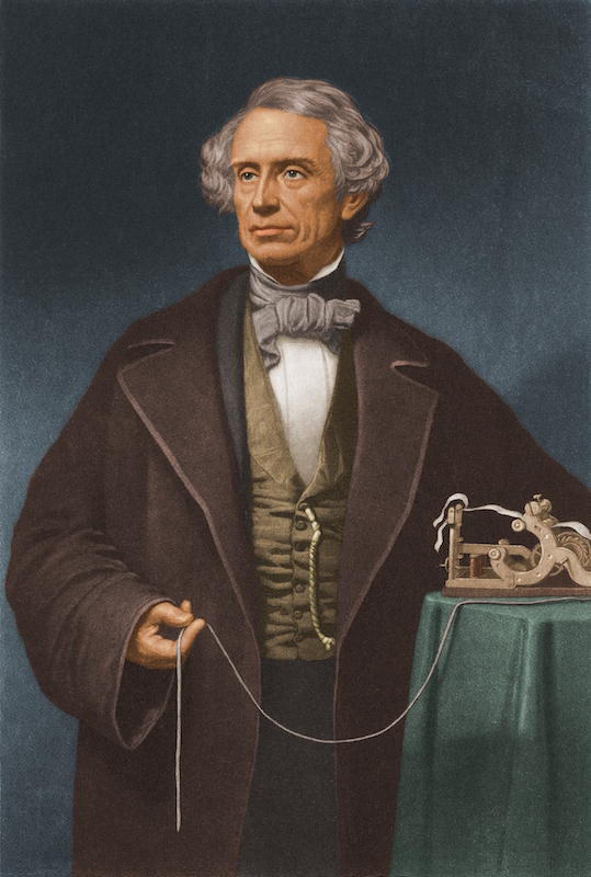 Painted portrait of American artist and inventor Samuel Morse (1791 - 1872), who invented the Morse code system used in sending messages by telegraph, circa 1850. He poses beside a telegraph device. (Hulton Archive/Getty Images)