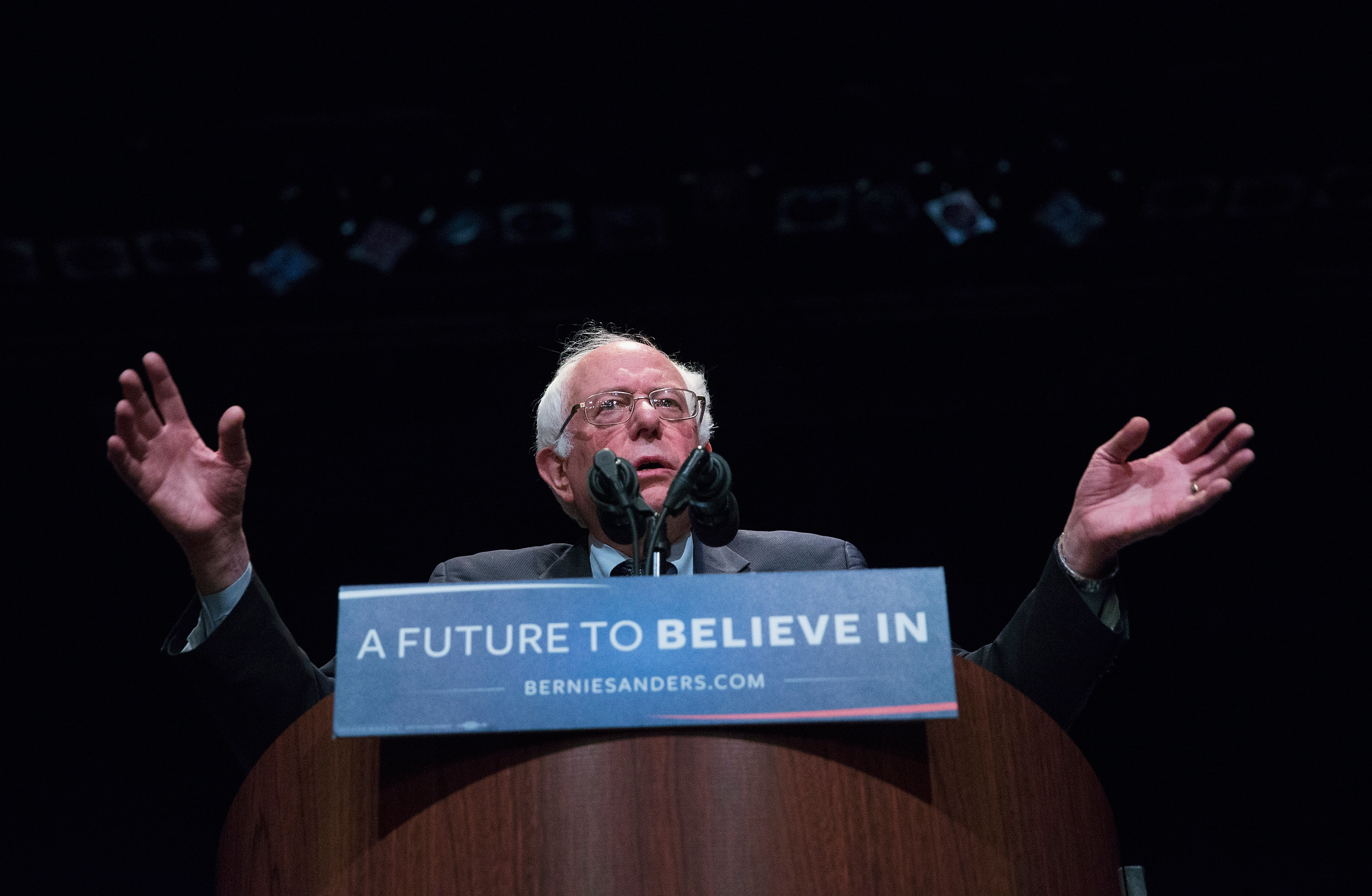 Democratic presidential candidate Senator Bernie Sanders (D-VT) speaks to guest at a campaign rally at the Grand Theater on in Wausau, Wisc., on April 3, 2016.