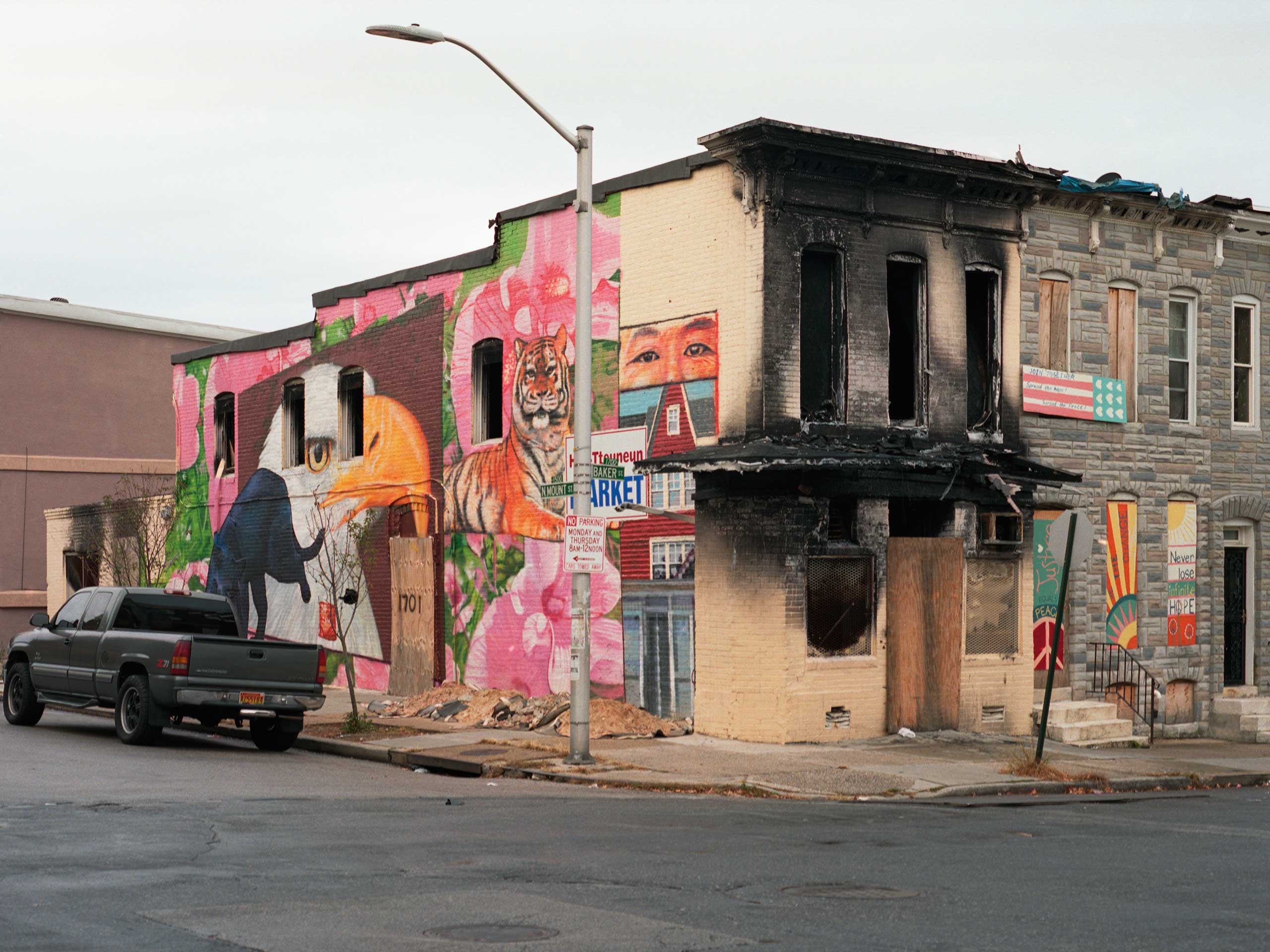 Grace Lyo's Hae-Tteuneun Market, a corner grocery store located at Baker Street and North Mount Street, was torched by rioters on April 27, 2015, in the wake of Freddie Gray's death. Over the course of the protest there was an estimated $9 million in destruction and more than 60 structure fires.