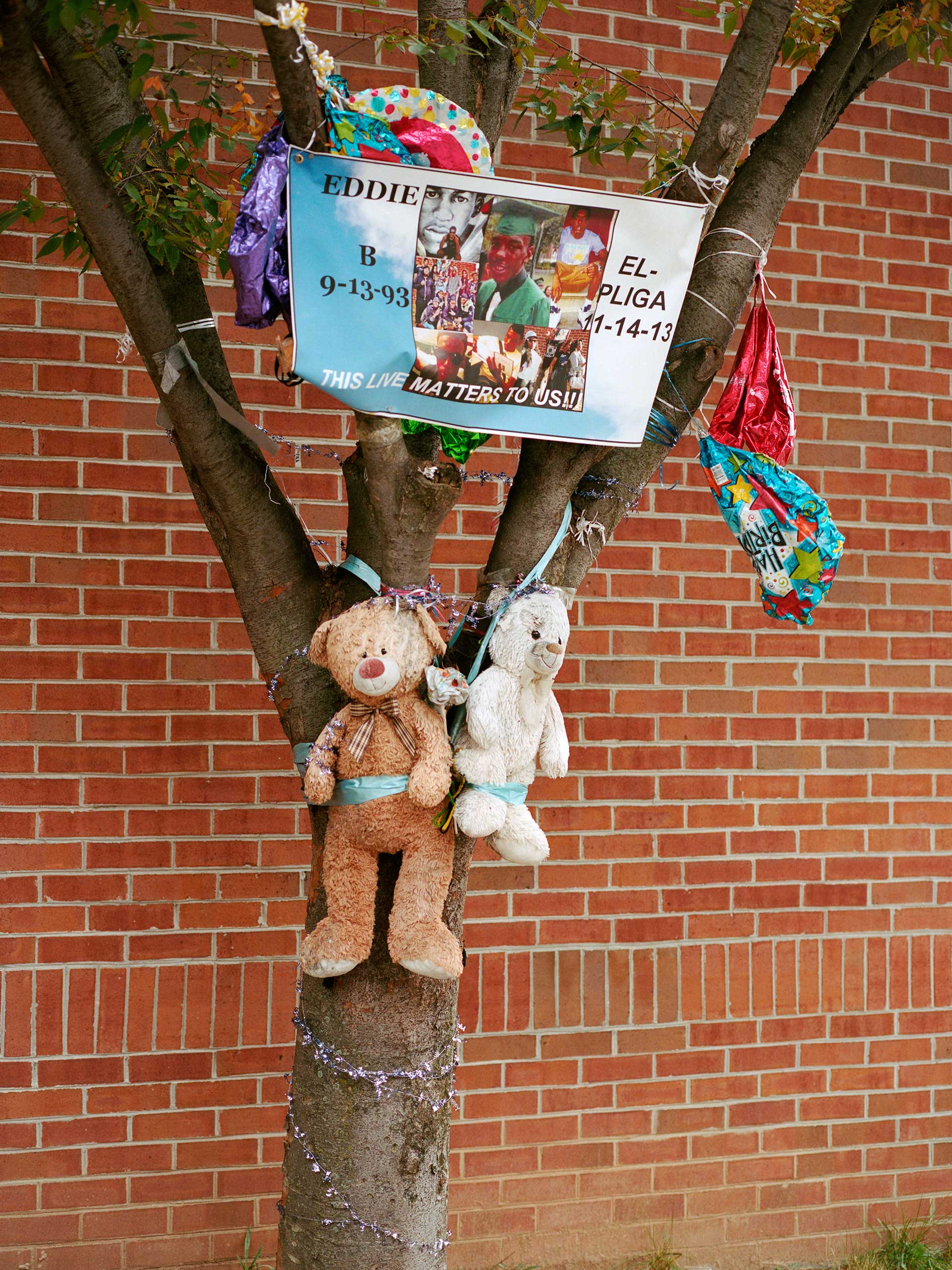 Birthday balloons and teddy bears adorn a memorial for Eddie Elpliga who was shot and killed in Sandtown in 2013. He was 19 when he died.