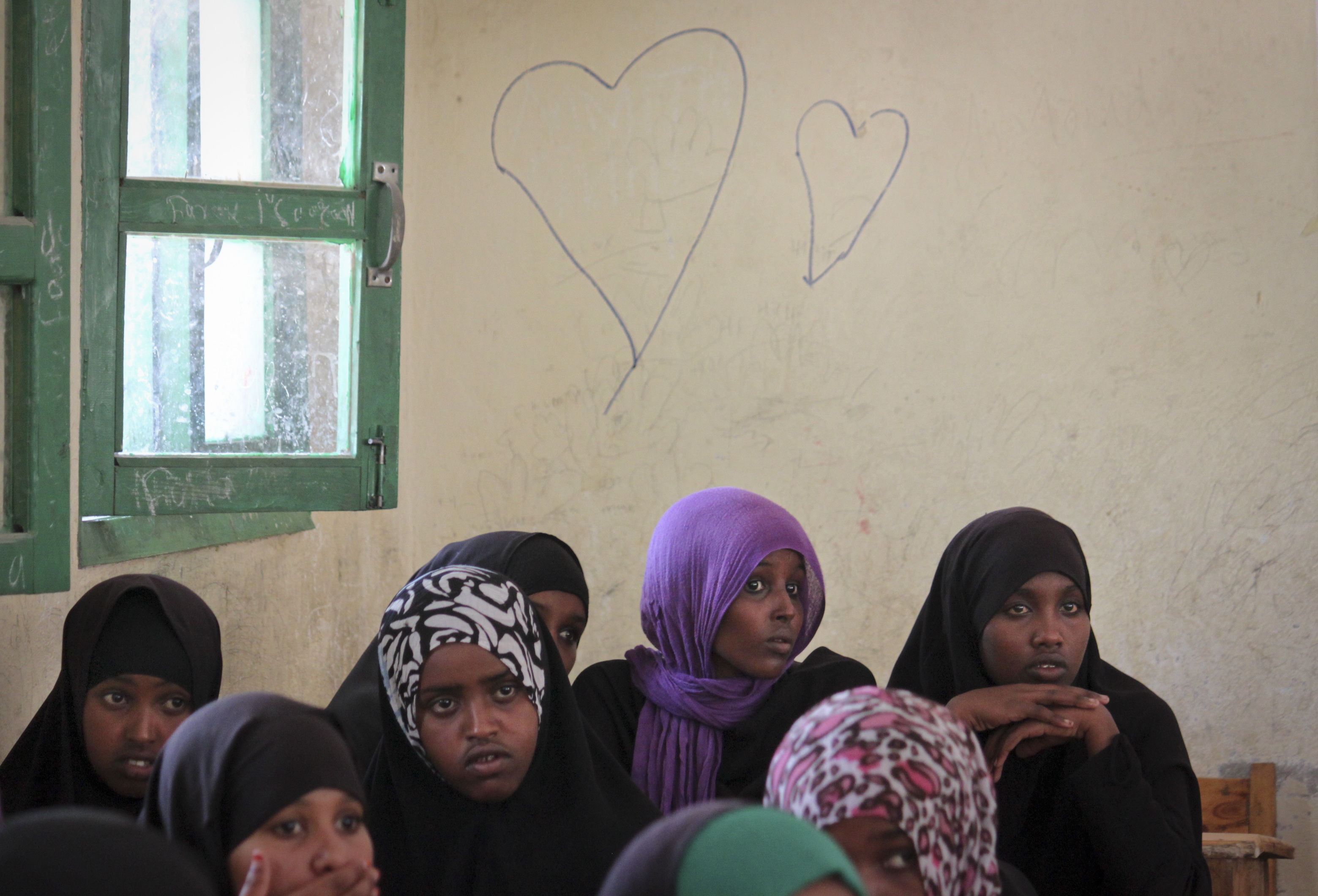 Discussion of the practice of female genital mutilation, funded by UNICEF, at the Sheik Nuur Primary School in Hargeisa, Somalila on Feb. 16, 2014.