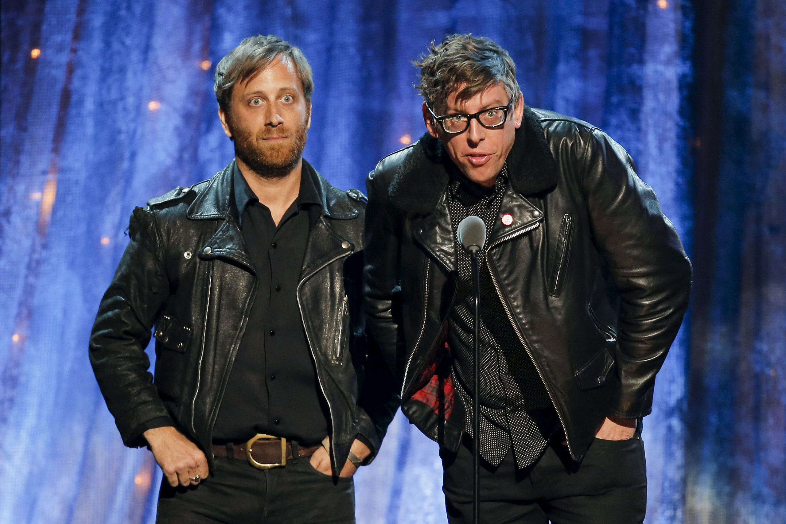 Dan Aurerbach, left, and Patrick Carney of The Black Keys induct Steve Miller onstage at the 31st Annual Rock And Roll Hall Of Fame Induction Ceremony at the Barclays Center in Brooklyn, April 8, 2016.