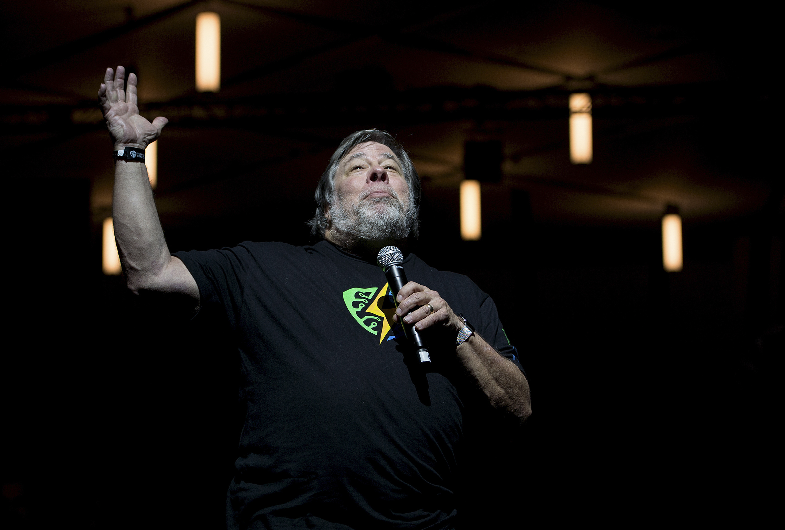 Steve Wozniak speaks during the Silicon Valley Comic Con in San Jose, Calif., March 18, 2016.