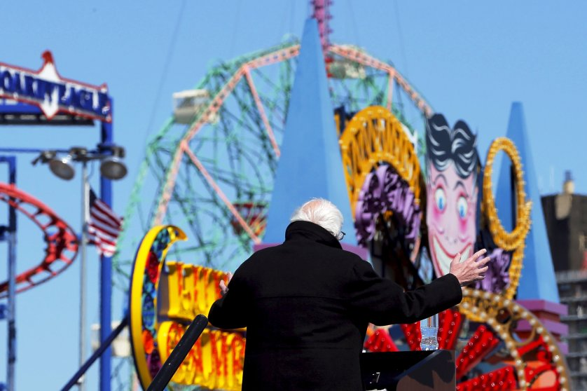 Democratic presidential candidate, Vermont Sen. Bernie Sanders speaks at a campaign rally on the boardwalk in Coney Island, New York on April 10, 2016.