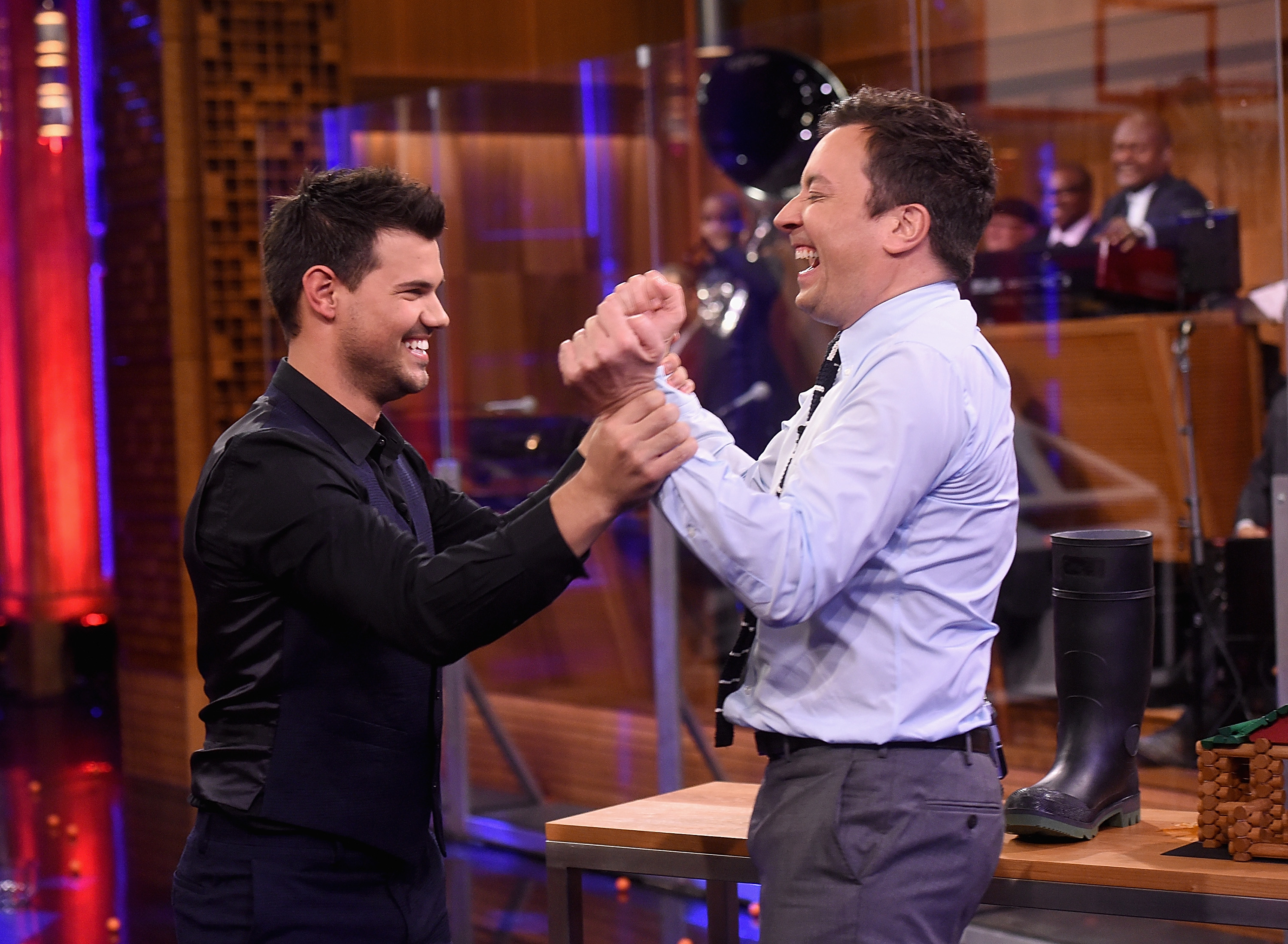 Taylor Lautner and host Jimmy Fallon during a segment on  The Tonight Show Starring Jimmy Fallon  at NBC Studios on March 31, 2016 in New York City.