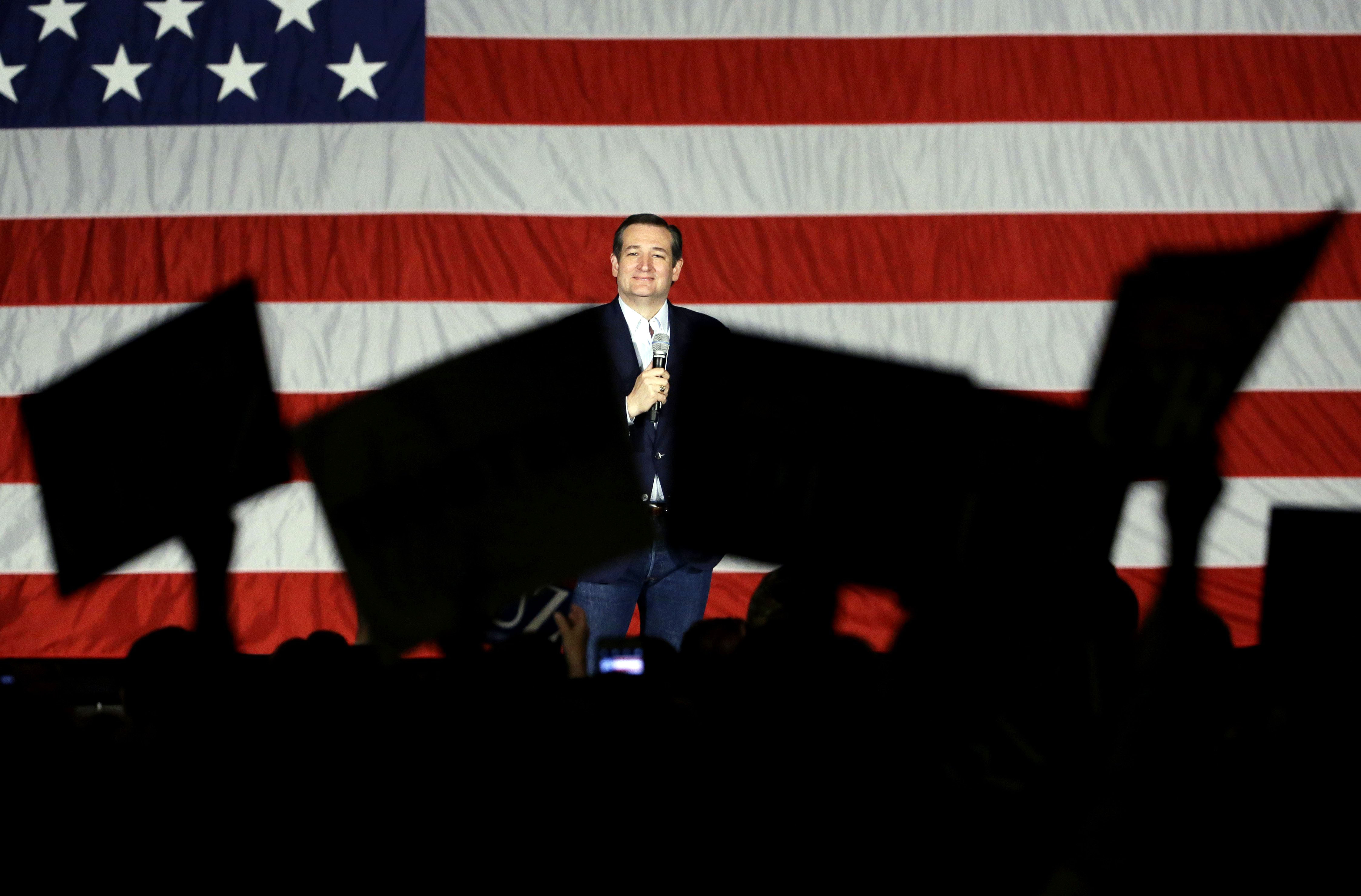 Republican presidential candidate, Sen. Ted Cruz, R-Texas, looks to supporters as he speaks at a campaign stop at Waukesha County Exposition Center on April 4, 2016, in Waukesha, Wis.