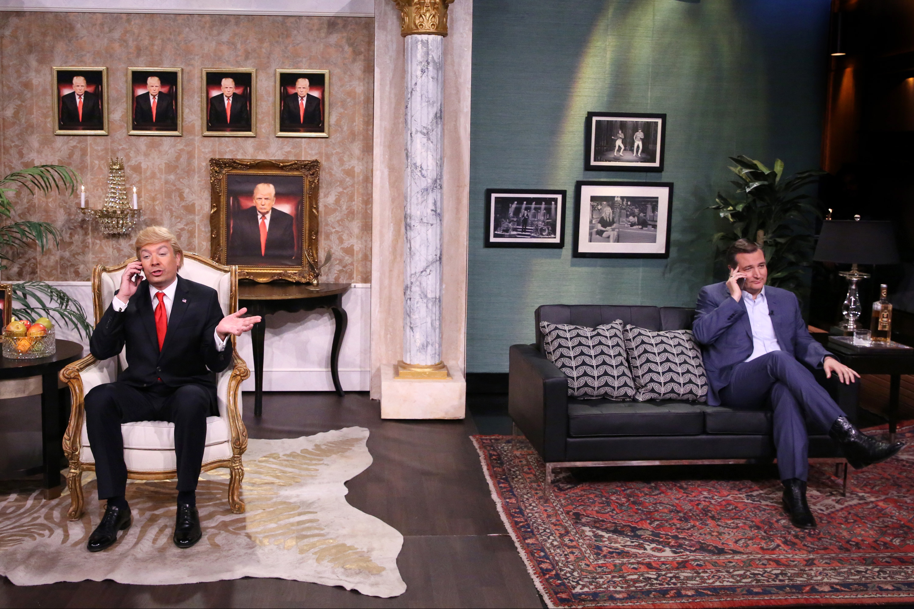 Host Jimmy Fallon as Donald Trump and Senator Ted Cruz during a sketch on April 14.