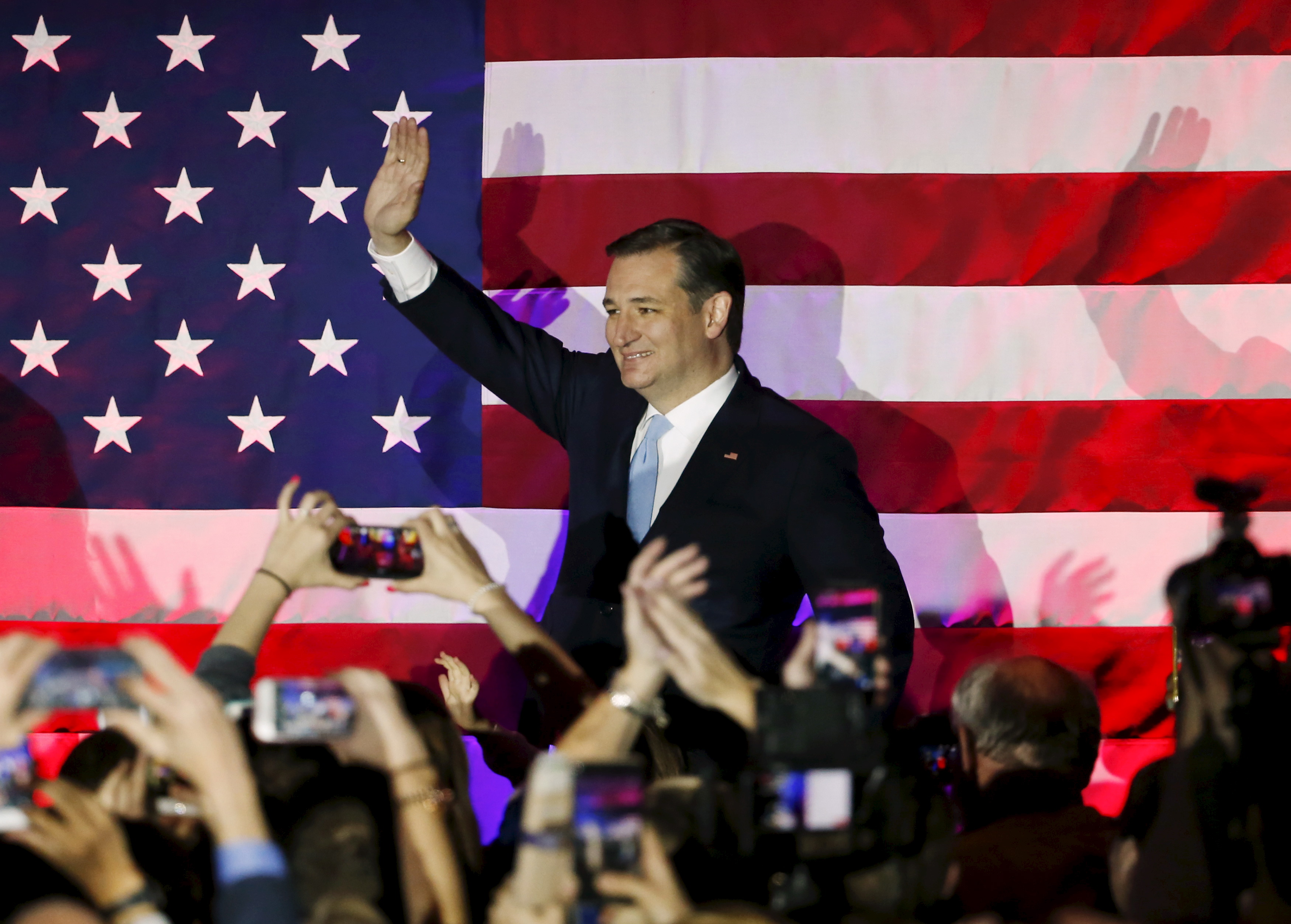 U.S. Republican presidential candidate Ted Cruz arrives for a Wisconsin primary night rally at the American Serb Banquet Hall in Milwaukee, Wisc., April 5, 2016.