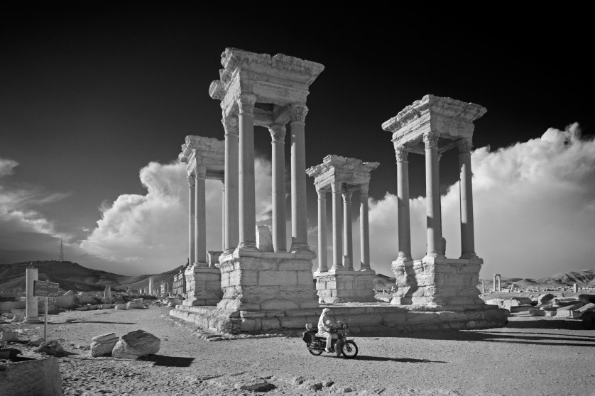 The Tetrapylon, in Syria's ancient city of Palmyra, 2009.They were built as landmarks at significant crossroads or geographical 'focal points', as a 'sub-type' of the Roman triumphal arch.