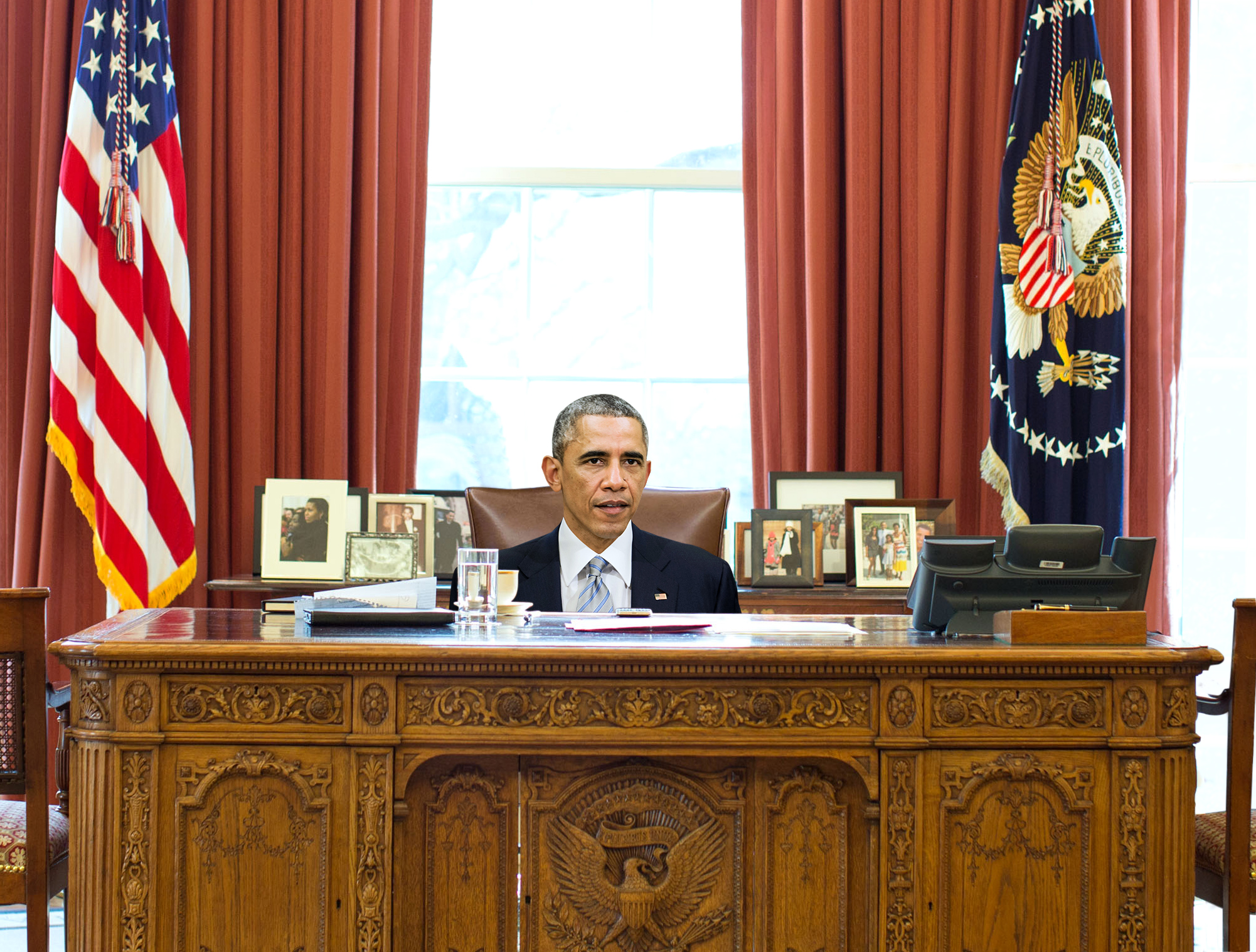 Obama Still Hasn't Figured Out How To Adjust Height Of Oval Office Desk Chair                                May 22, 2015