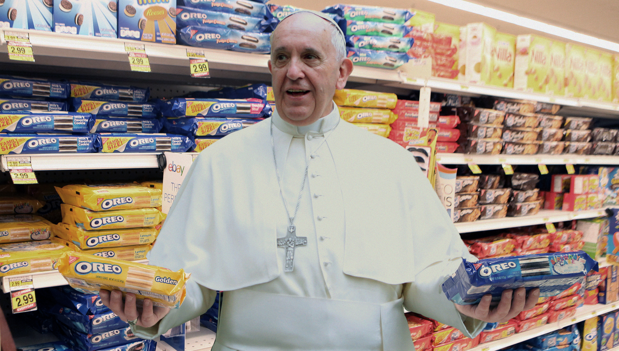 Pope Francis Reverses Position on Capitalism After Seeing Wide Variety of American Oreos                               September 22, 2015