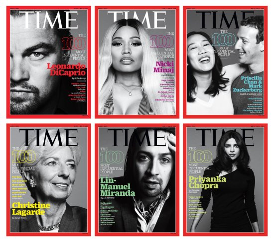 Time 100 covers white background
