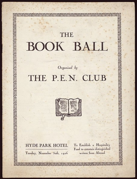 Program for the P.E.N. Club Book Ball held at the Hyde Park Hotel in London on Nov. 30, 1926