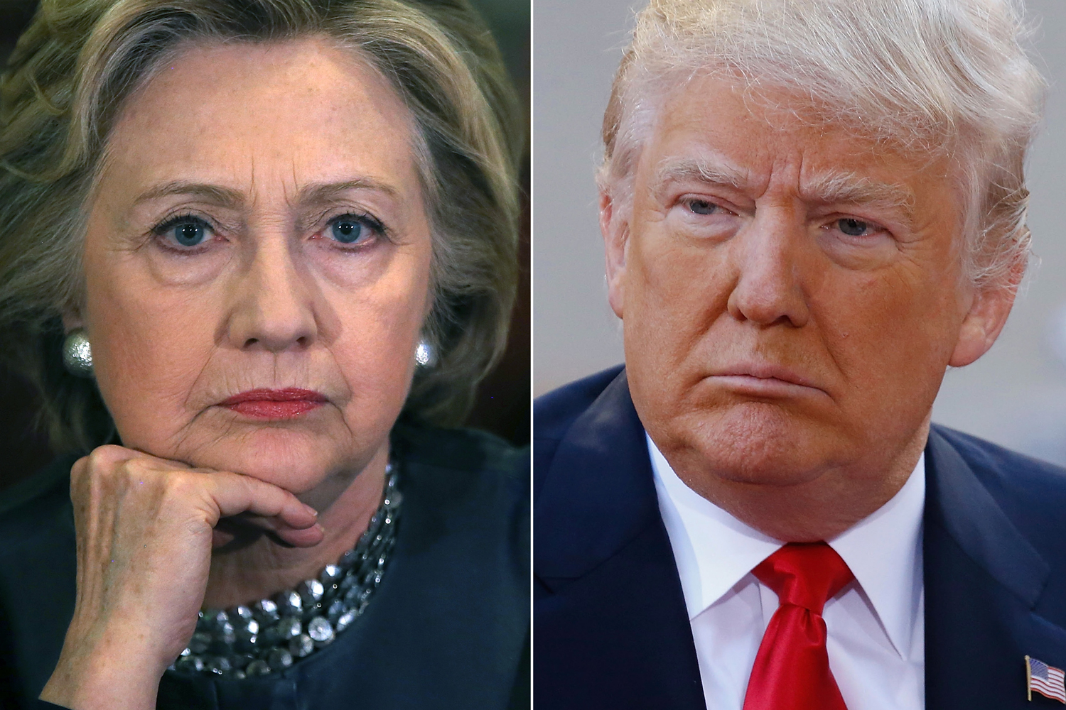 Hillary Clinton in New Haven, Connecticut on April 23, 2016 (R); Donald Trump in New York City, on April 21, 2016.
